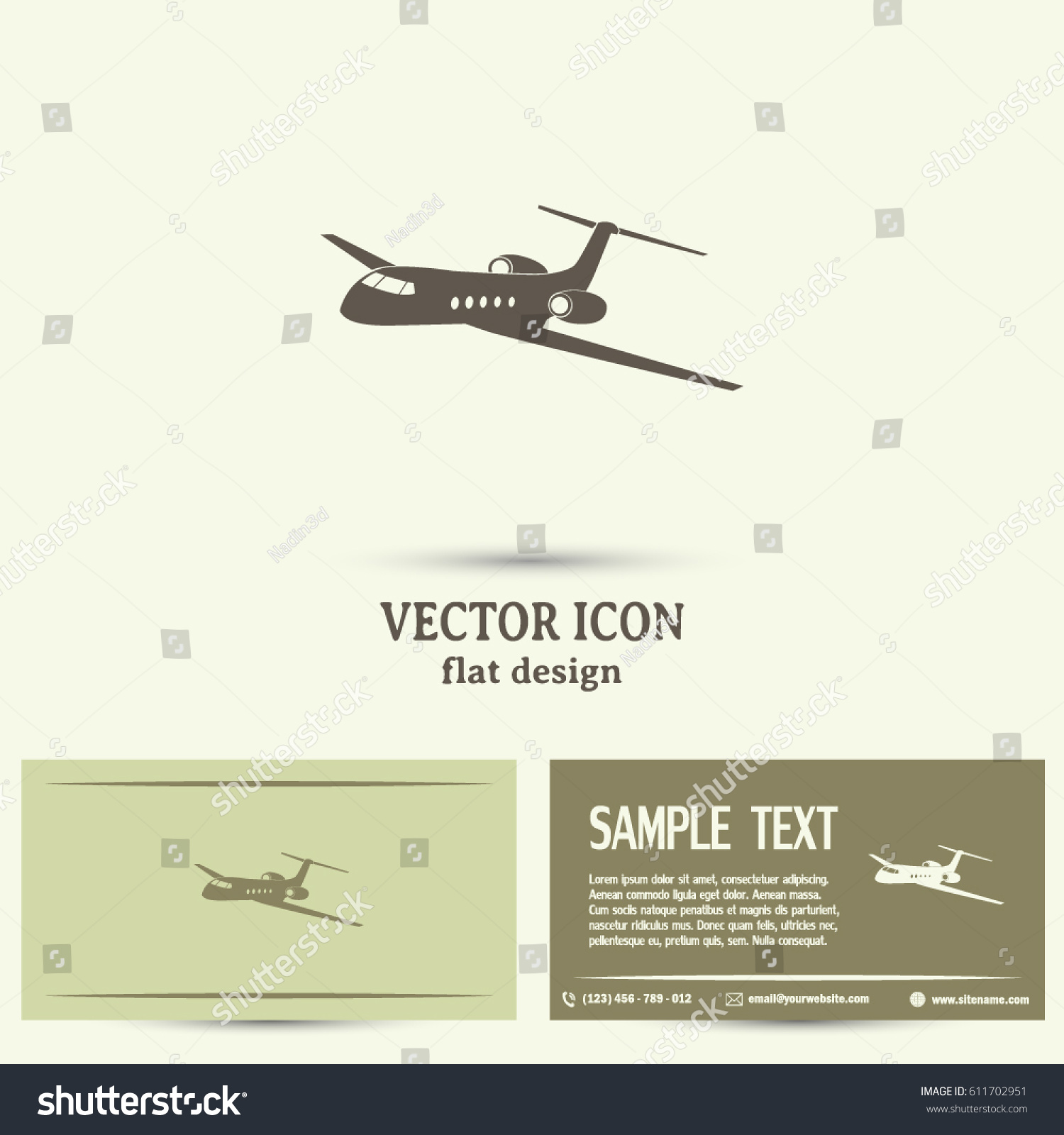 Business Cards Design Plane Icon Flat Stock Vector 611702951 ...