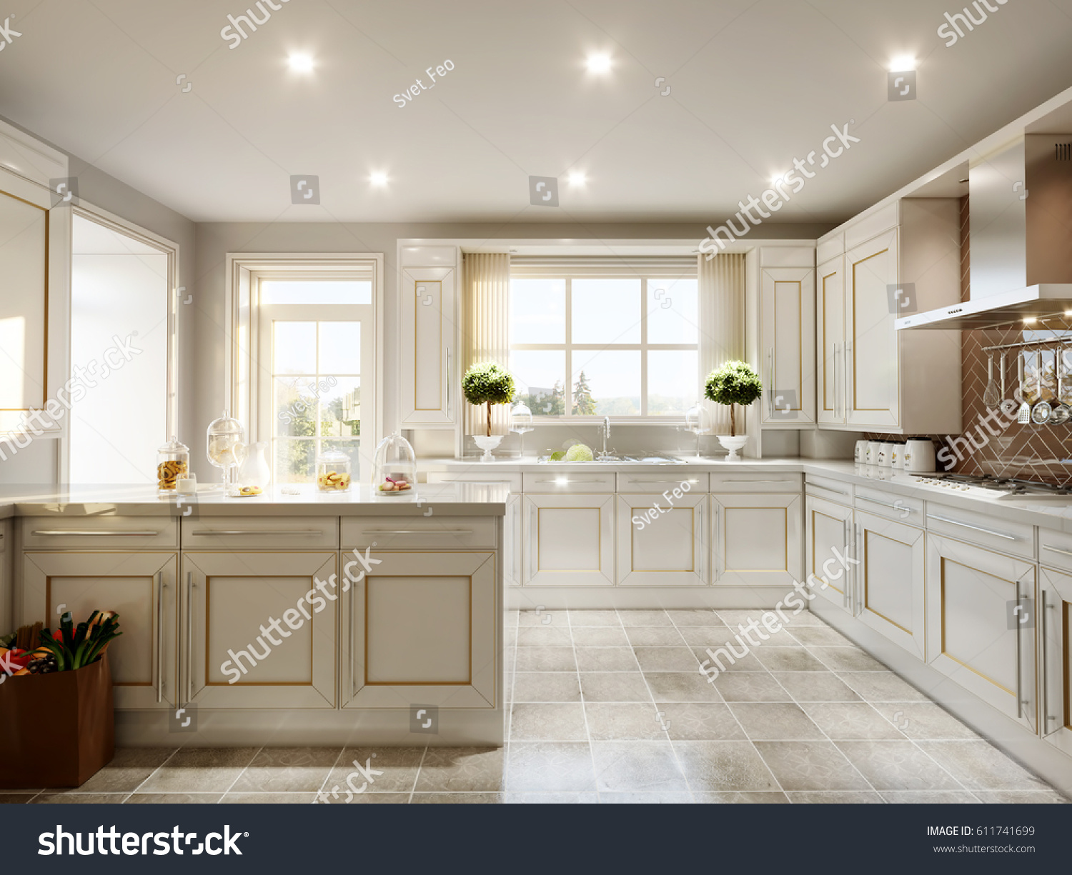 Modern english classic style kitchen interior stock for Modern english interior design