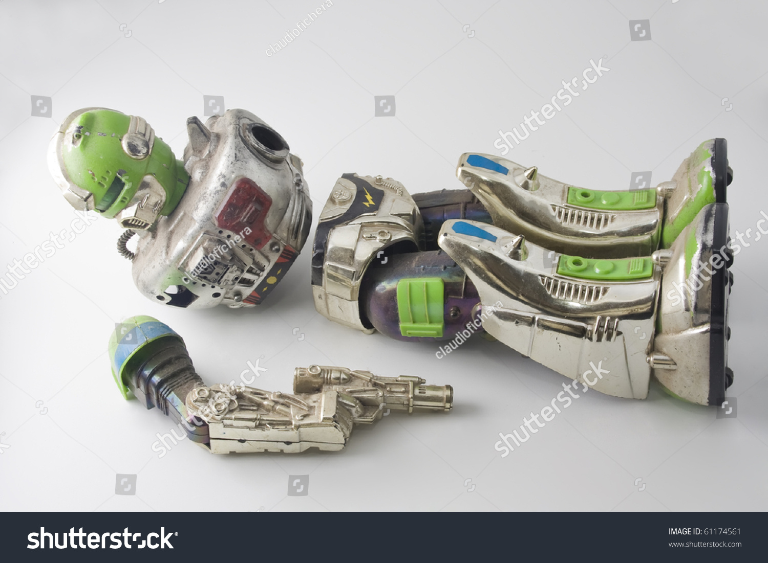 Brocken Used Toys : Old robot toy broken and damaged stock photo