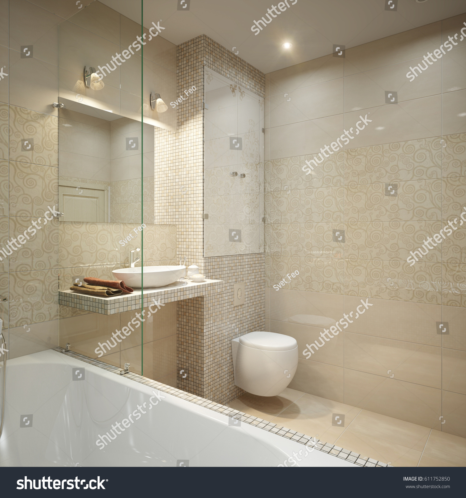 Modern Bathroom Interior Design Beige Marble Stock Illustration ...