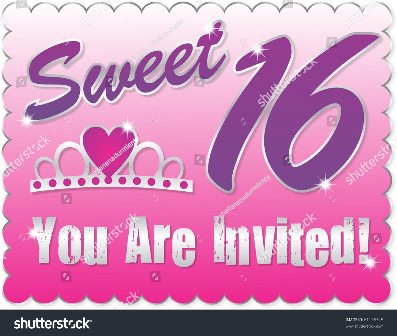 Sweet Sixteen Greeting C Ard Stock Illustration 61176745 Shutterstock