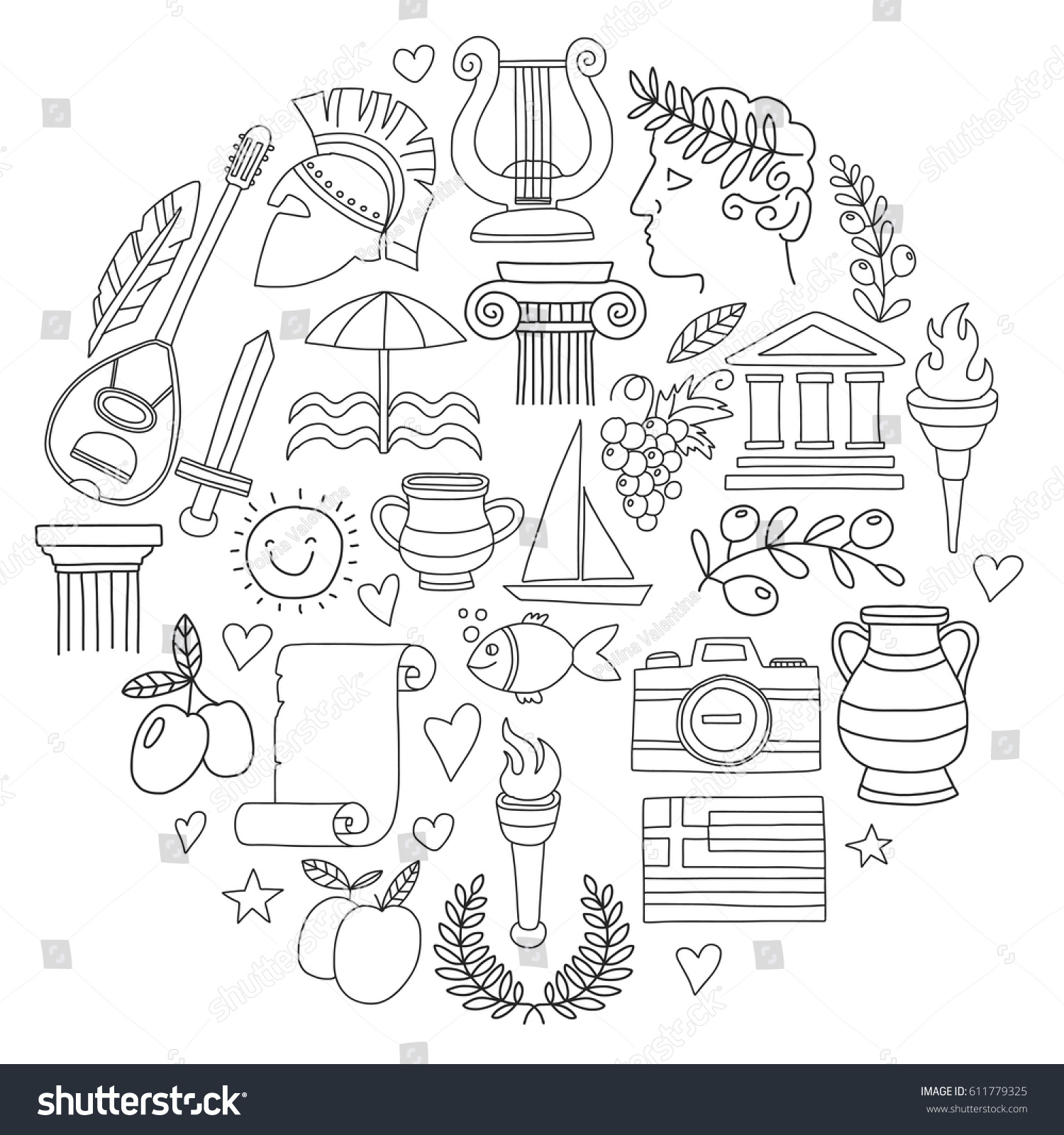 ancient greece vector elements doodle style stock vector 611779325