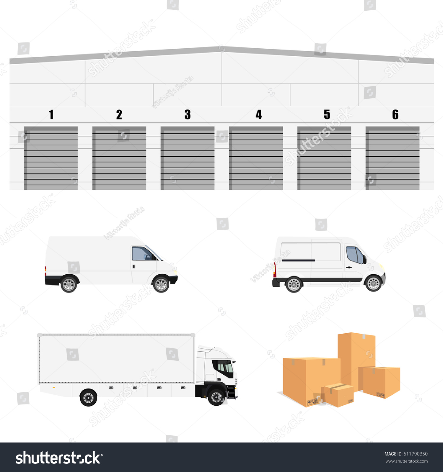 Vector Illustration Warehouse Cargo Delivery With Six Doors. Storage  Building. Cargo Truck, Two