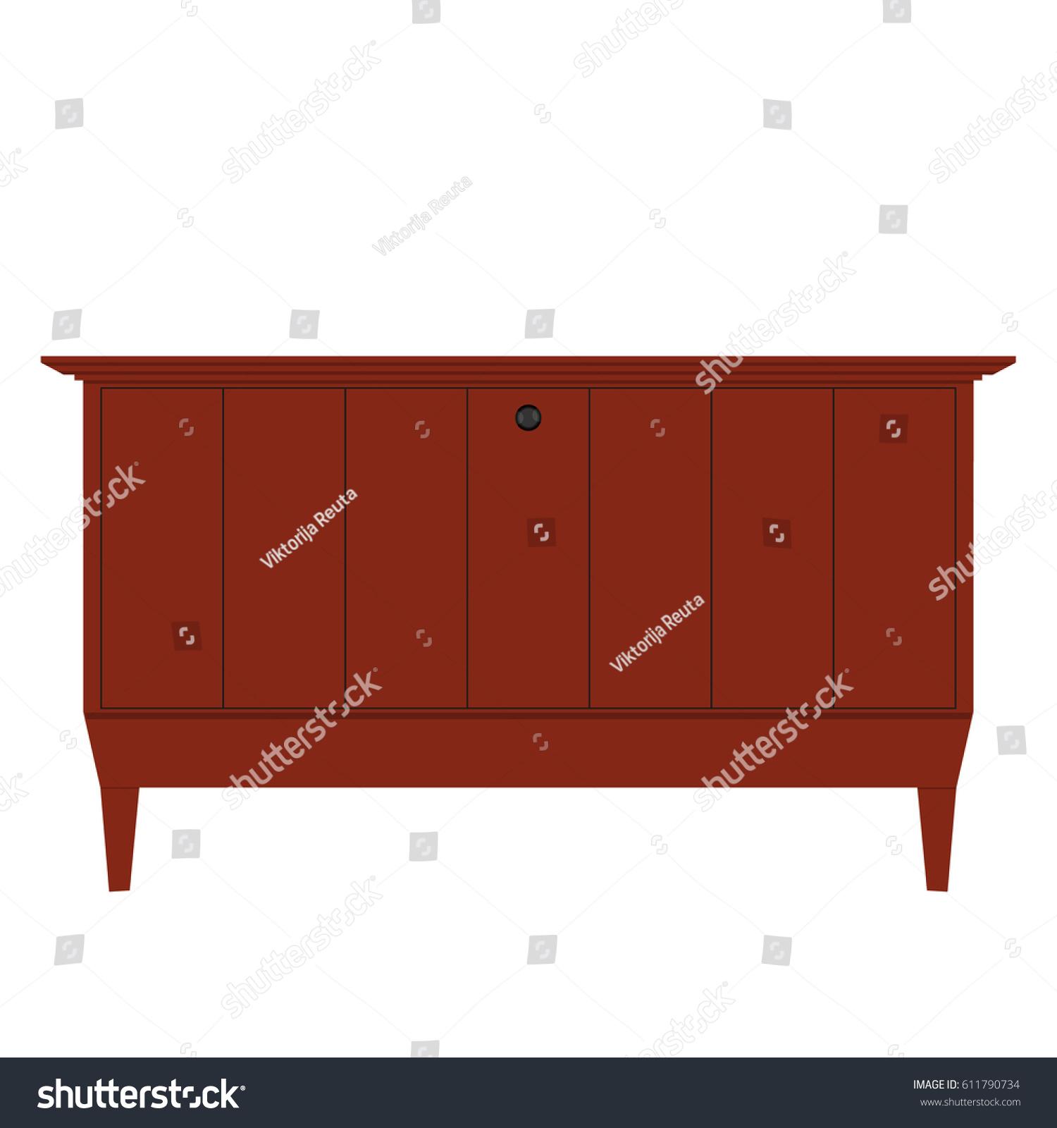 Vector Illustration Wooden Vintage Furniture Tv Stock Vector