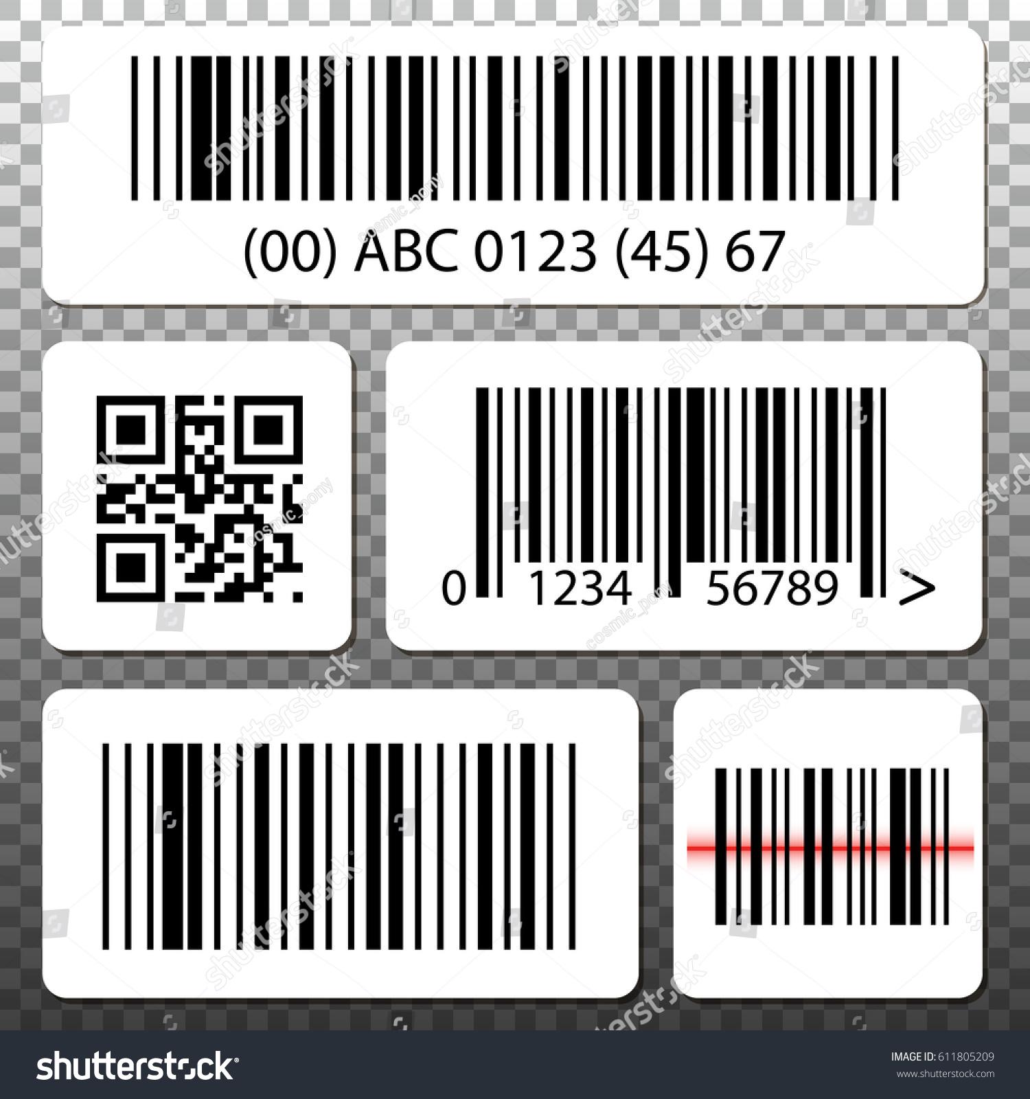 Barcode QR Code Stickers Template Set Stock-Vektorgrafik 611805209 ...