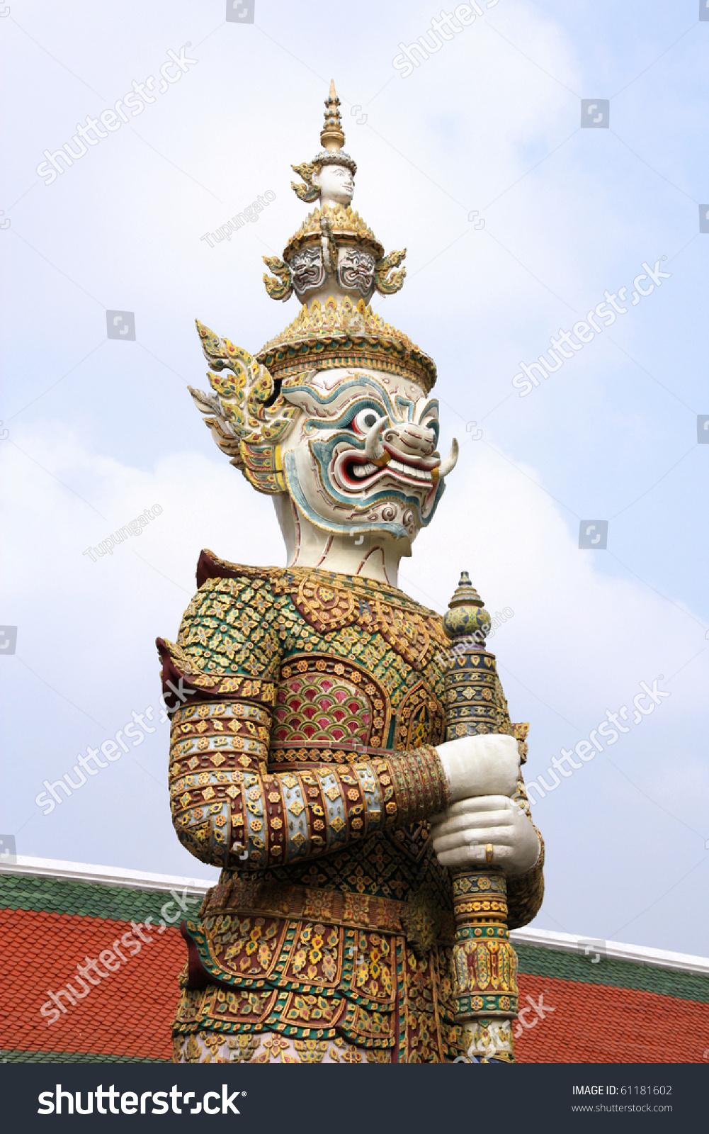 Thai Guard Statue - Beautiful Sculpture In The Royal Grand ...