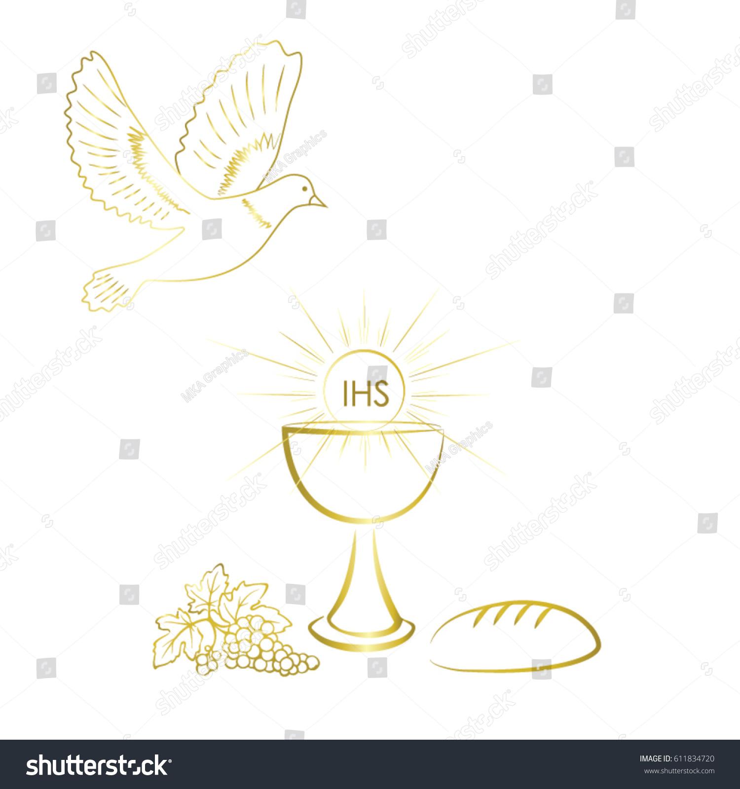 First communion symbols nice invitation design stock vector first communion symbols for a nice invitation design buycottarizona Image collections