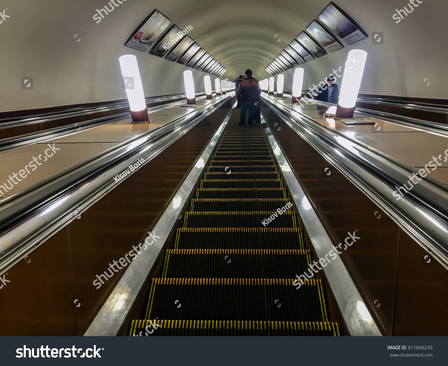 Moscow May 2 2016: Moving Stairs In Underground. Moving Escalator People.  Moscow Metro