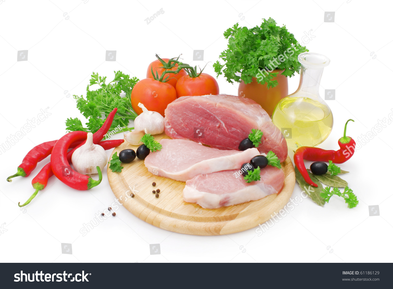 Nice Fresh Meat, Greens, Spices And Vegetables Isolated On