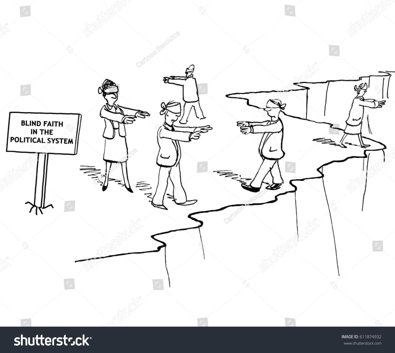Political Cartoon Showing People Blindfolds On Stock Illustration ...