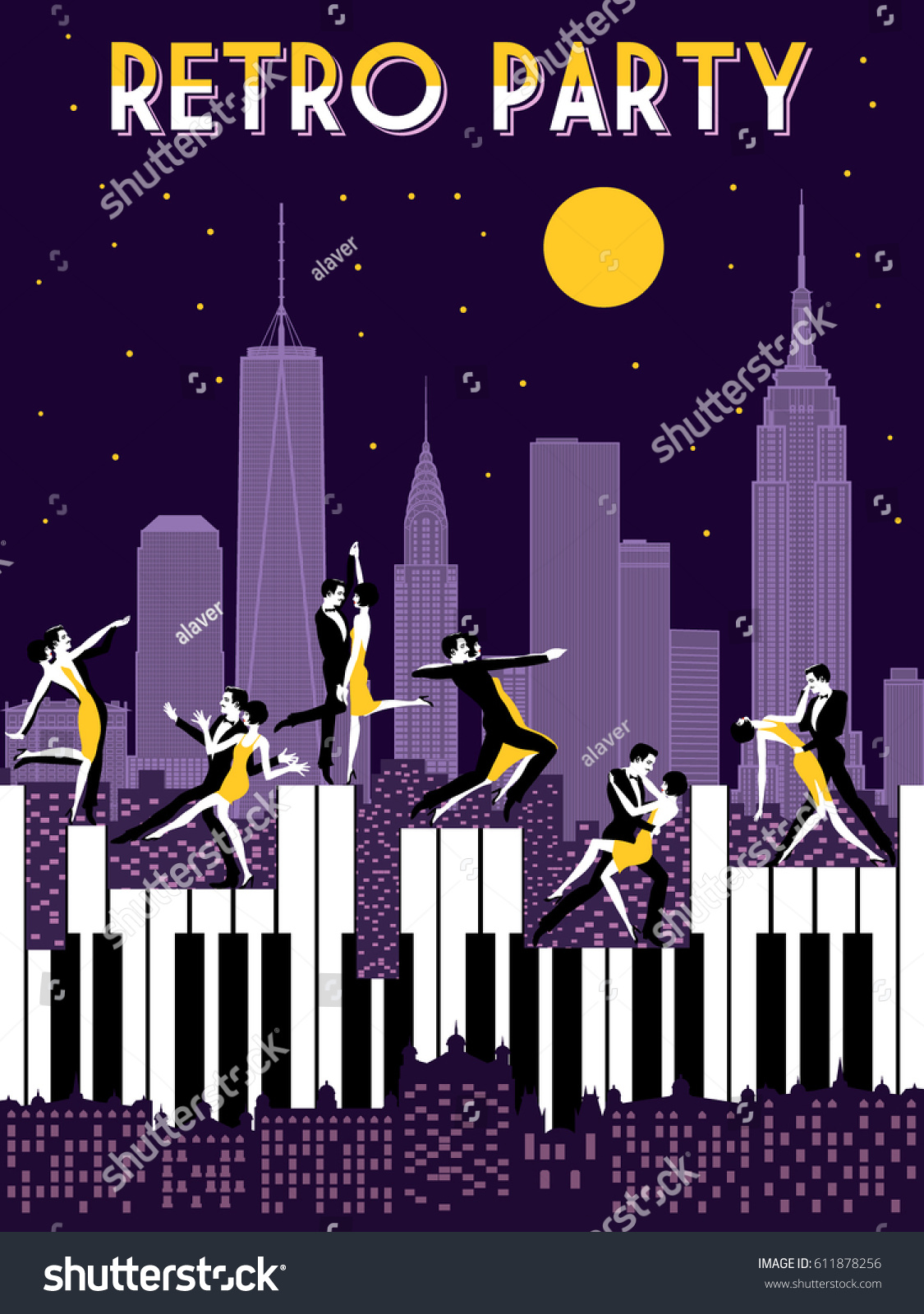 Stock Vector Six Dancing Couples Dancing On Piano Retro Party Hand Drawing Invitation Card Art Deco Style on Foxtrot Clothing