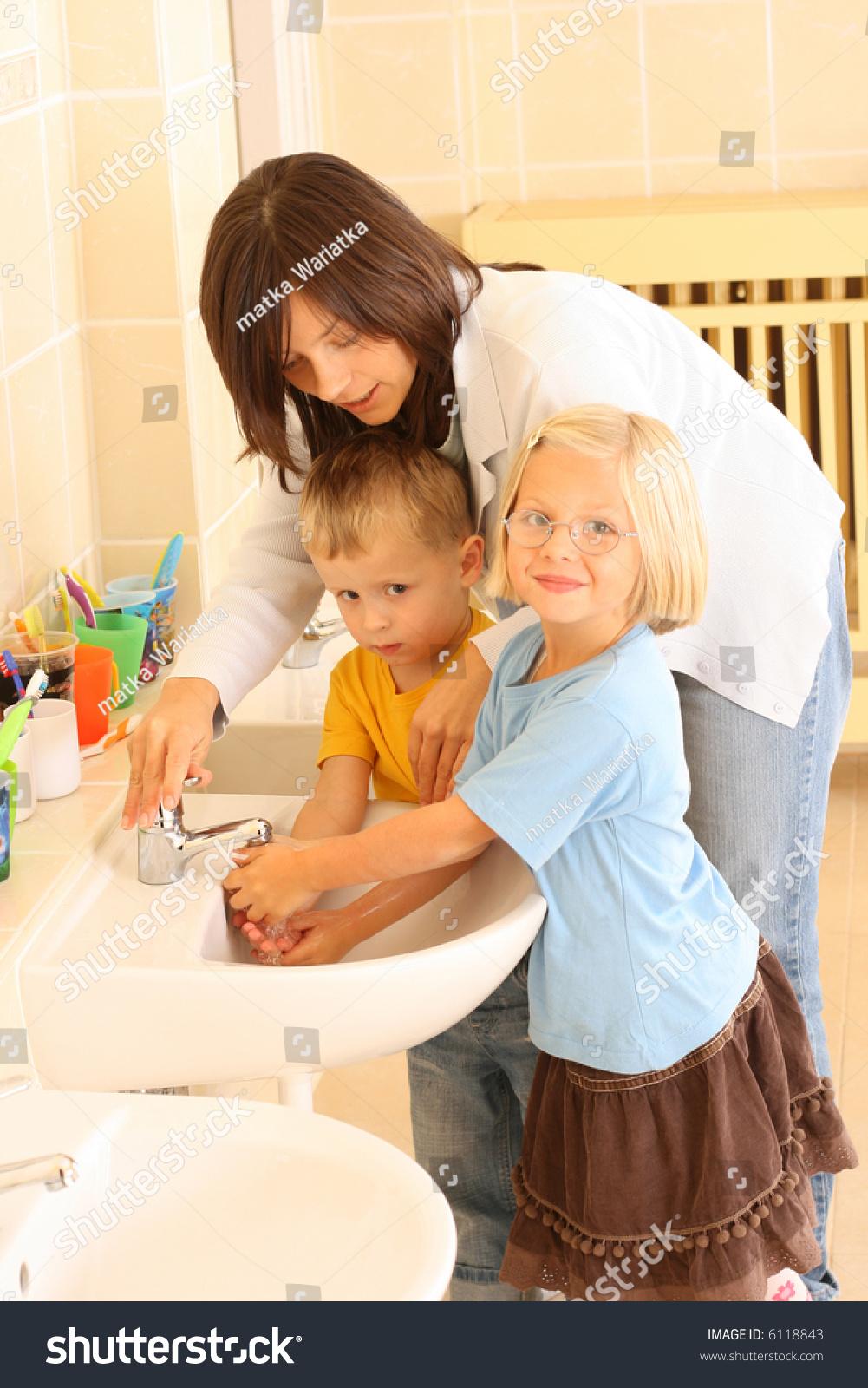 Preschoolers Bathroom Washing Hands Stock Photo 6118843 Shutterstock