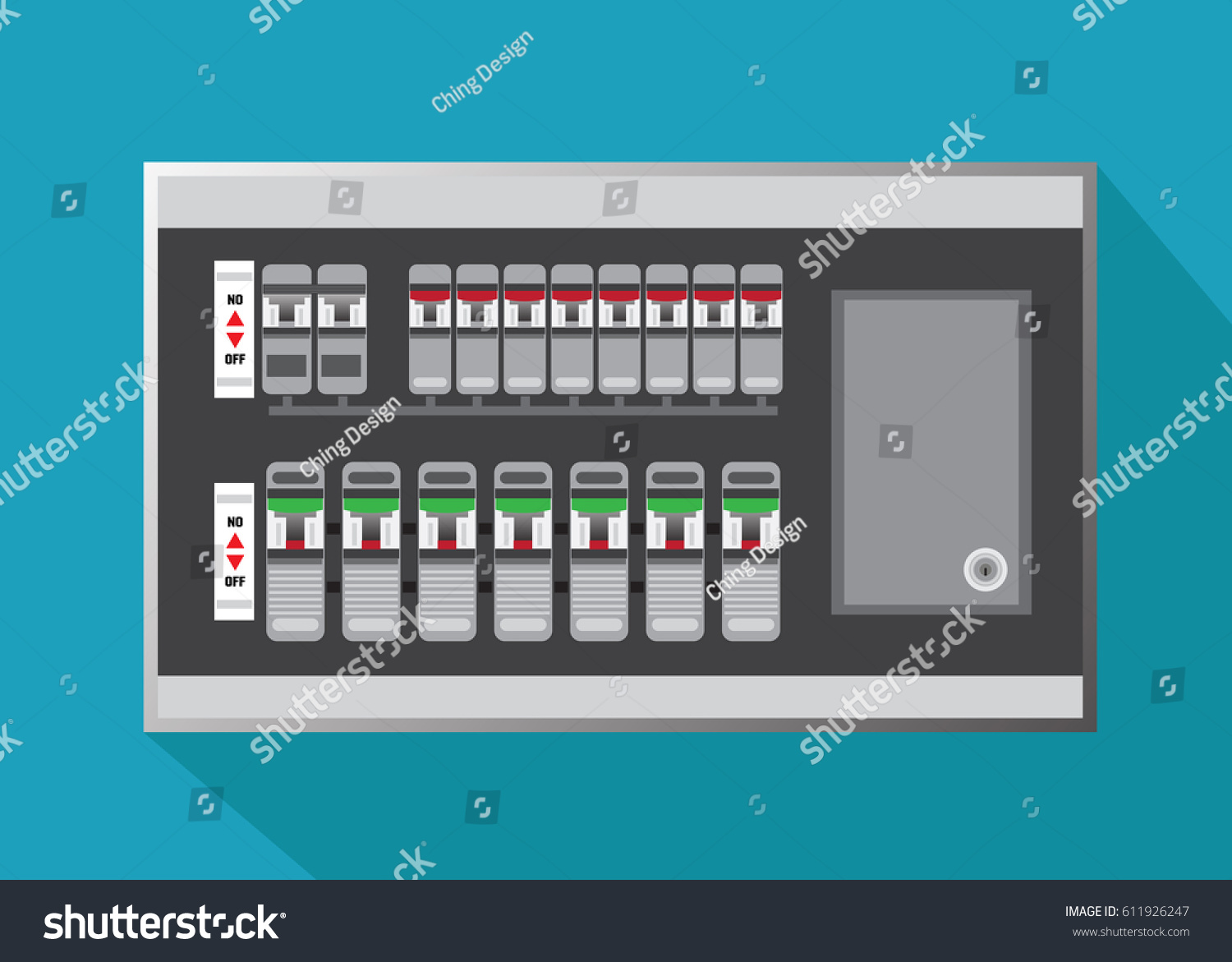 Electrical Panel Switch On Off Breakers Vector Stock Photo (Photo ...