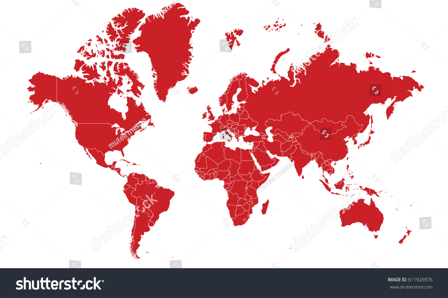 World Map To Color World Map Red Color Stock Vector (Royalty Free) 611926976
