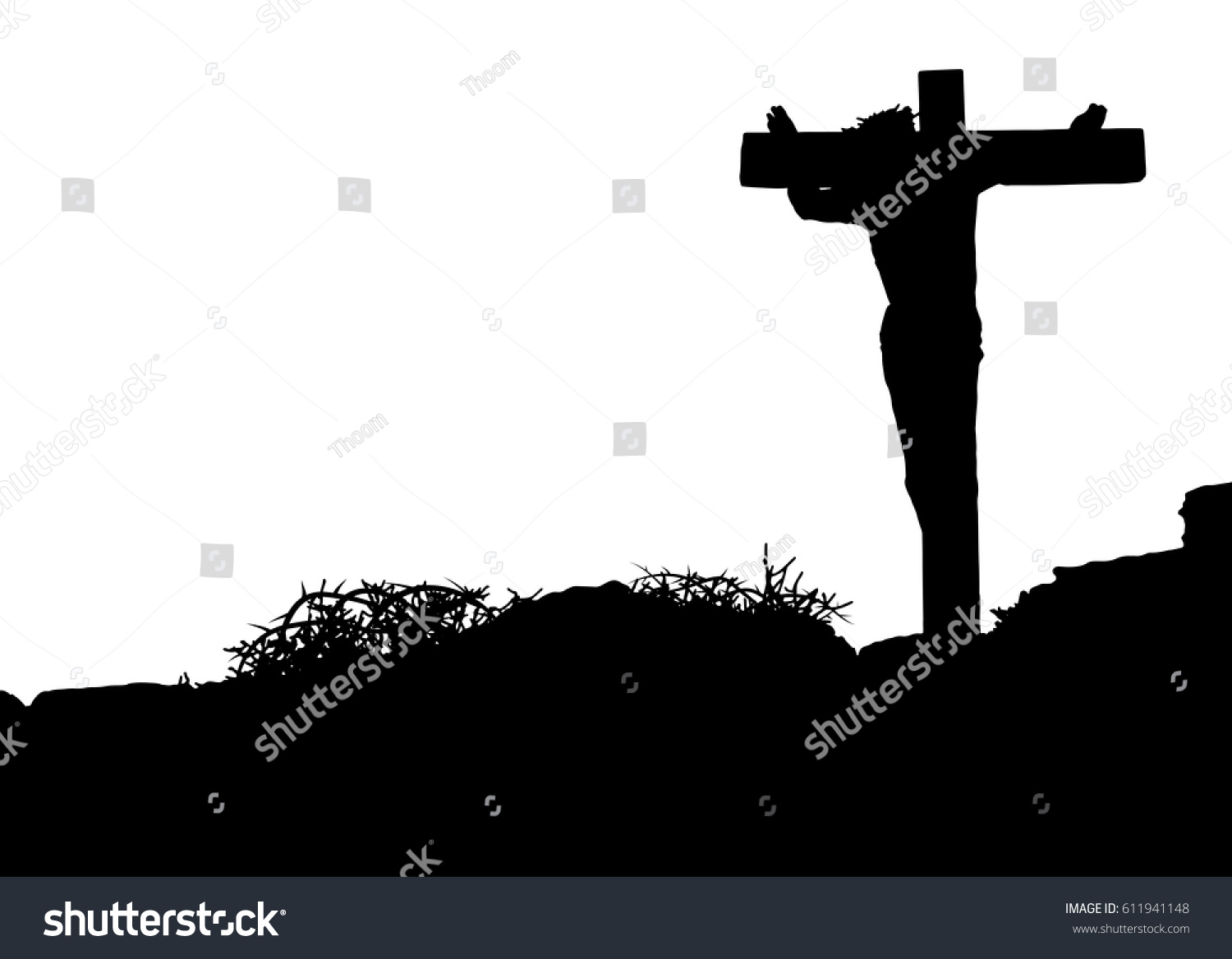 jesus christ on cross silhouette crucifixion stock vector