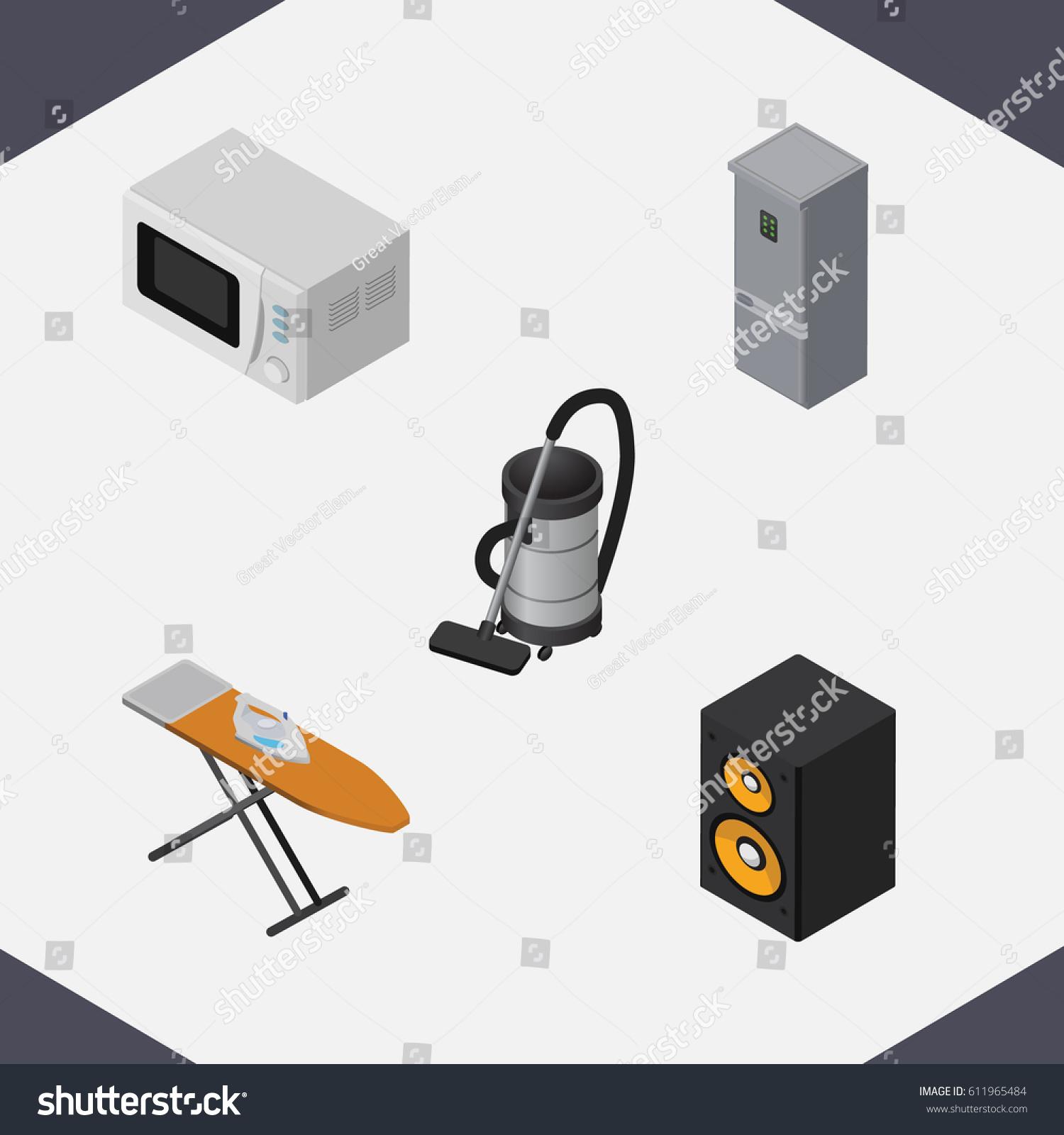 isometric electronics set music box vac stock vector 611965484