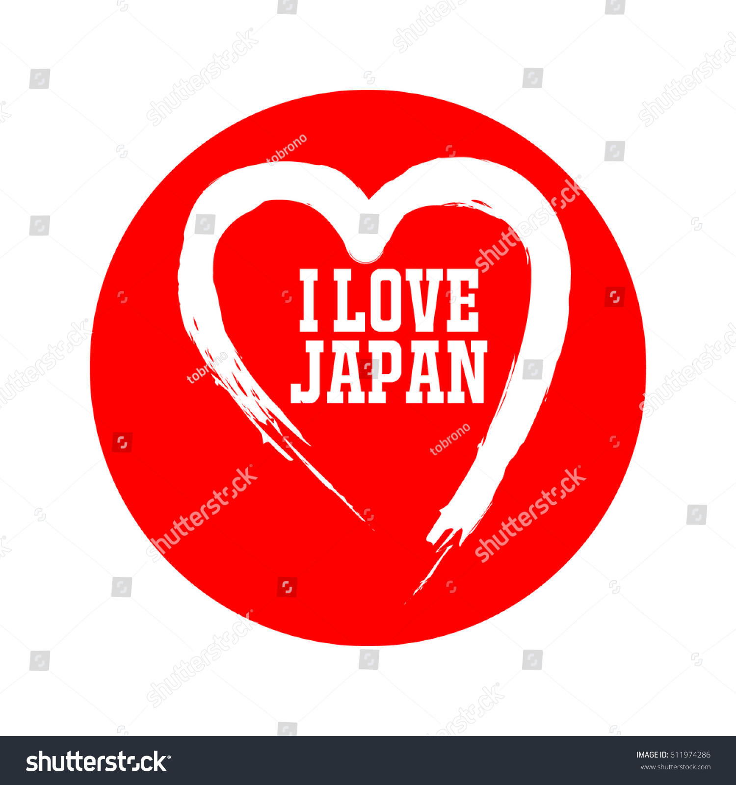 Love Japan Logo Vector Template Stock Vector Royalty Free 611974286