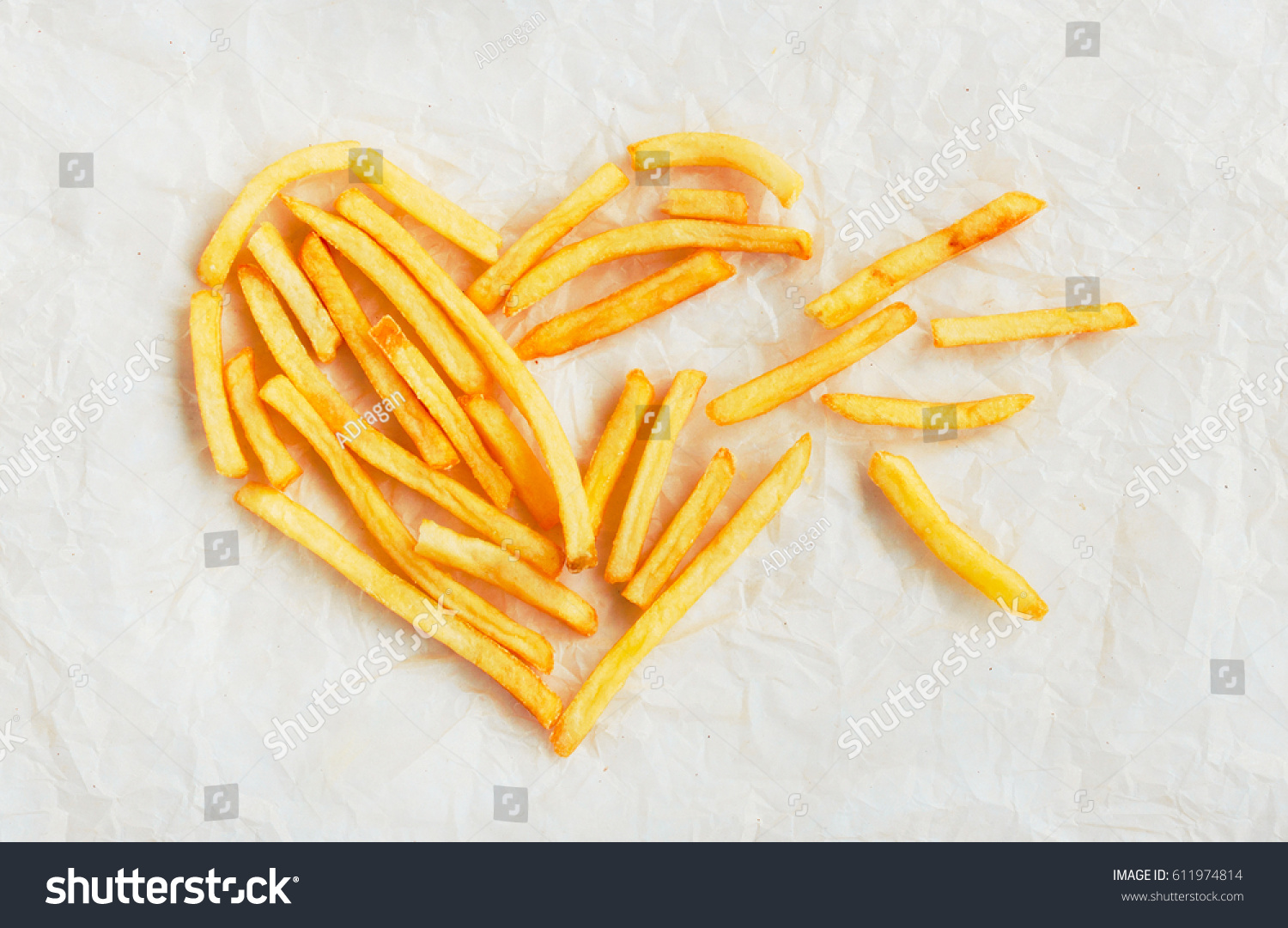 Symbol Broken Heart Lined French Fries Stock Photo Edit Now