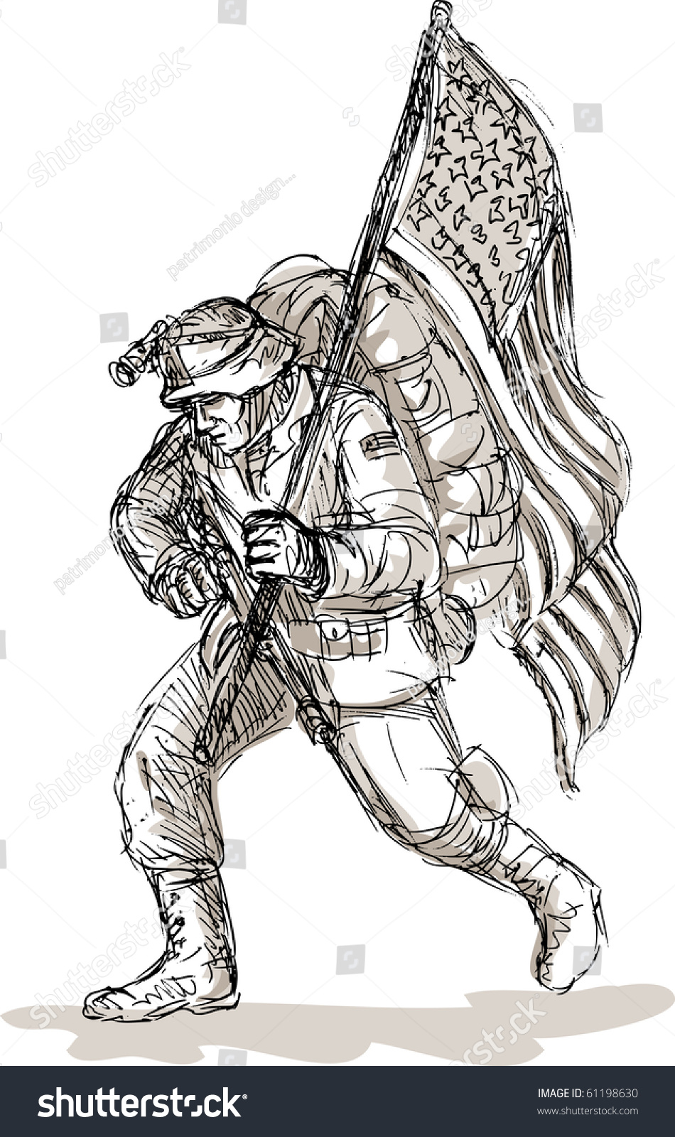 hand drawn sketch dejected american soldier stock