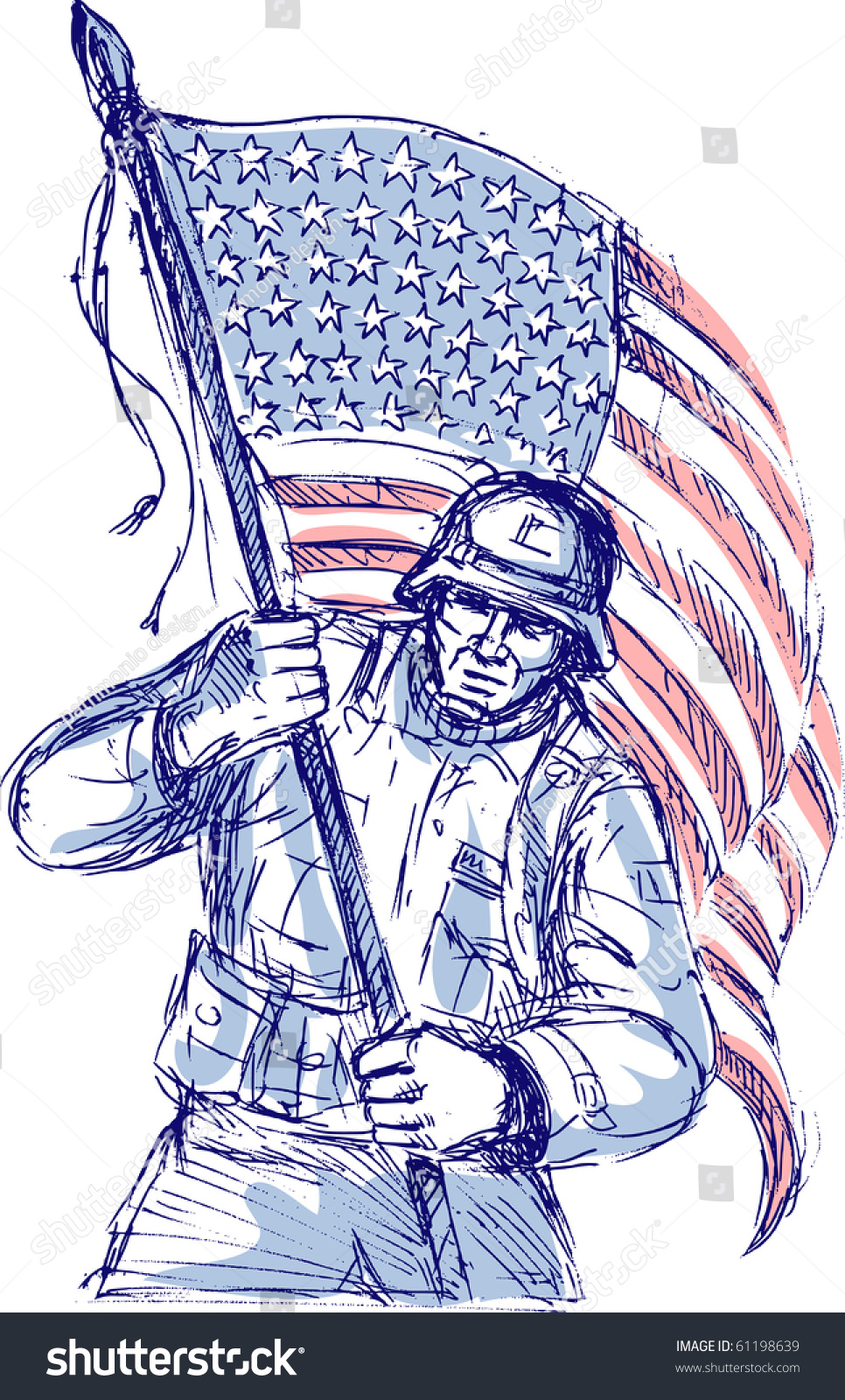 Hand Drawn Sketch American Soldier Full Stock Illustration