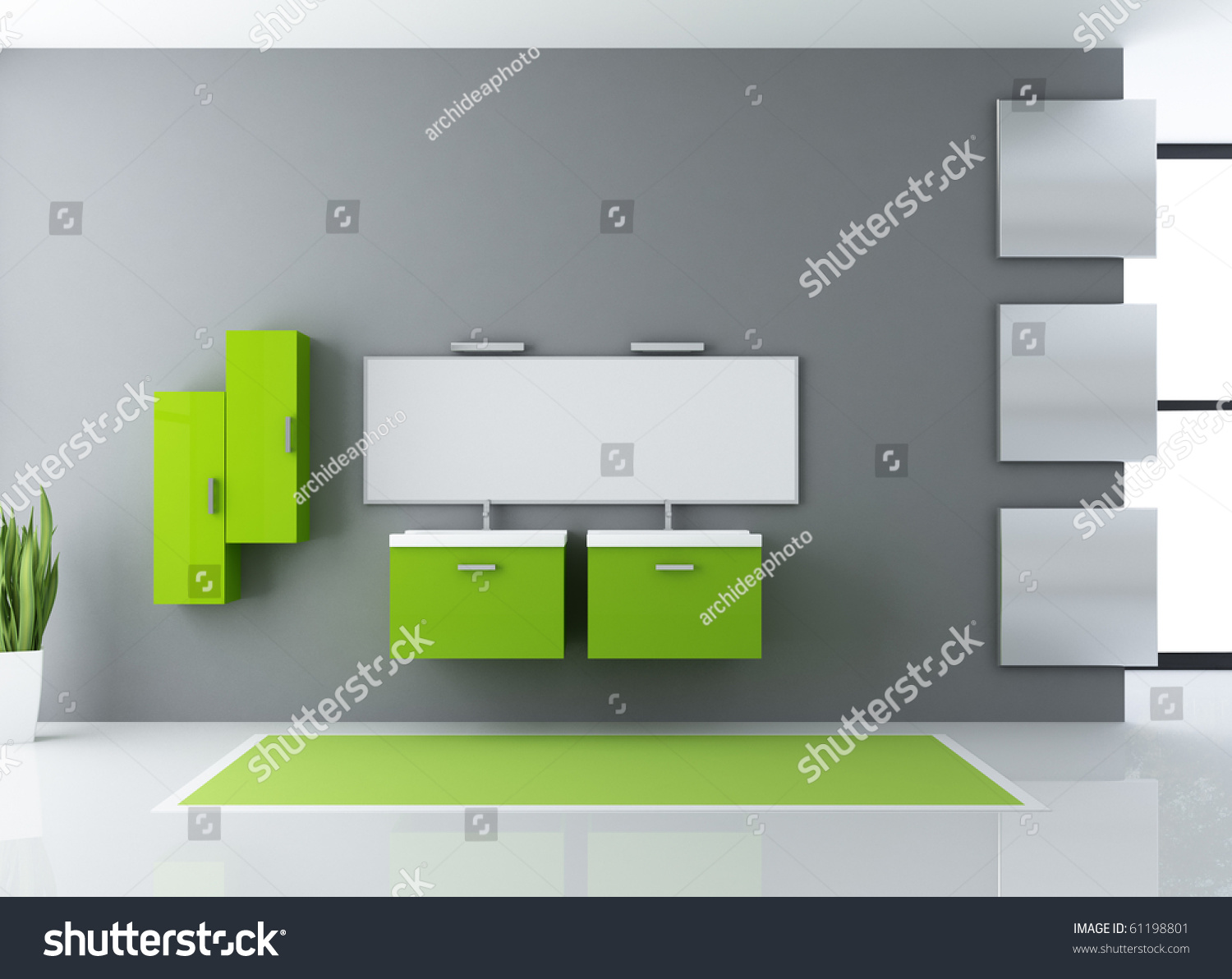 Minimalist Green And Gray Modern Bathroom Rendering Minimalist Green Gray Modern Bathroom Rendering Stock Illustration