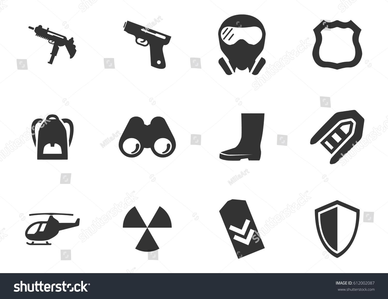 War Symbols Vector Icons User Interface Stock Vector Royalty Free
