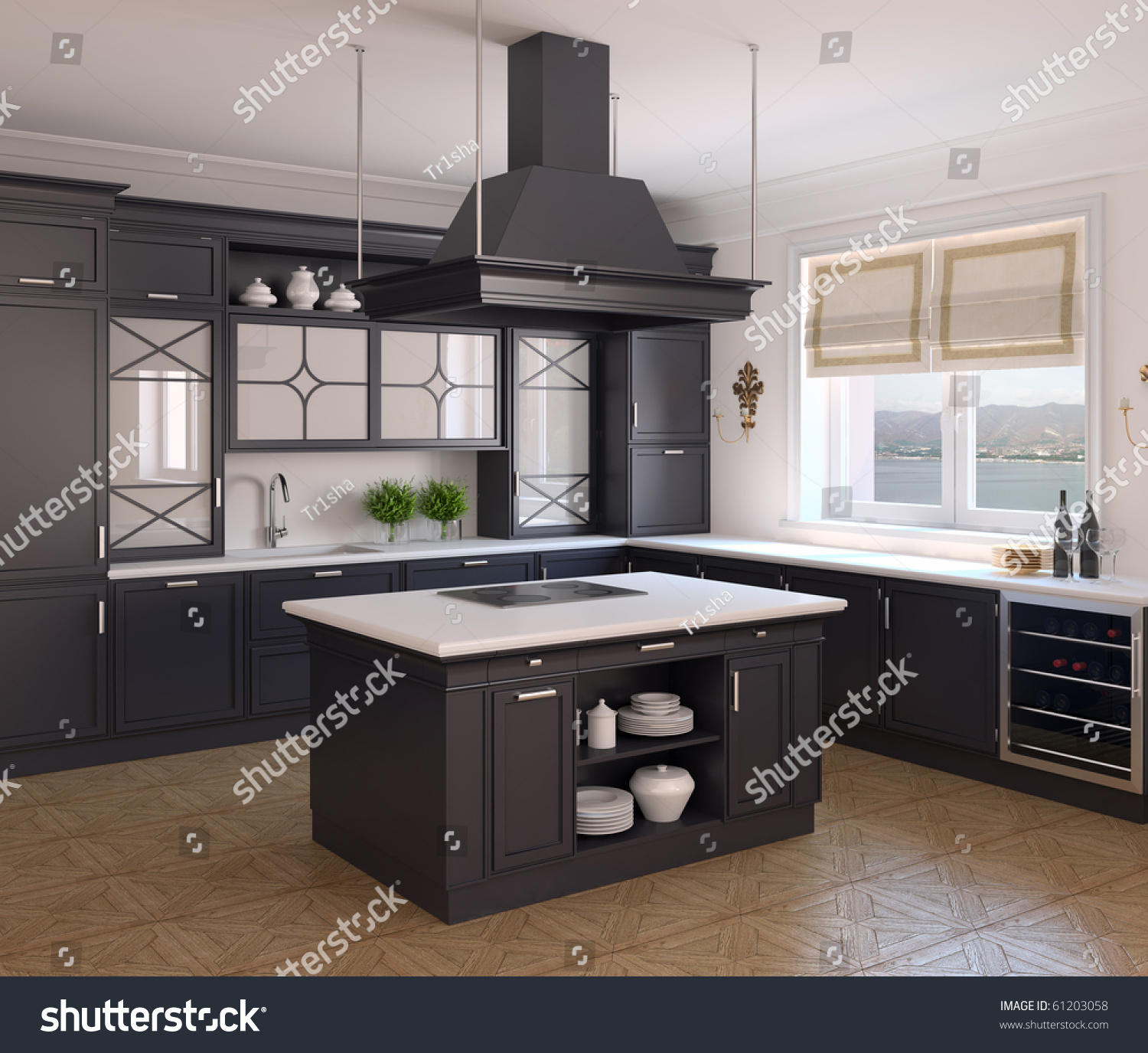 Traditional White Kitchen Design 3d Rendering: Interior Classic Black Kitchen 3d Render Stock