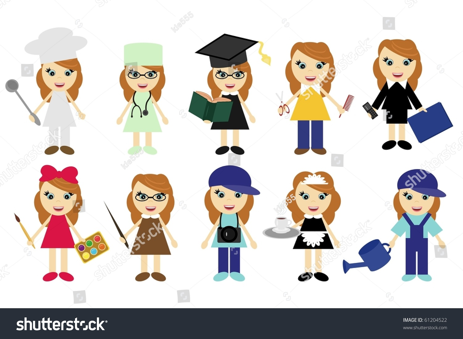 young women ten different jobs stock vector shutterstock young women of ten different jobs