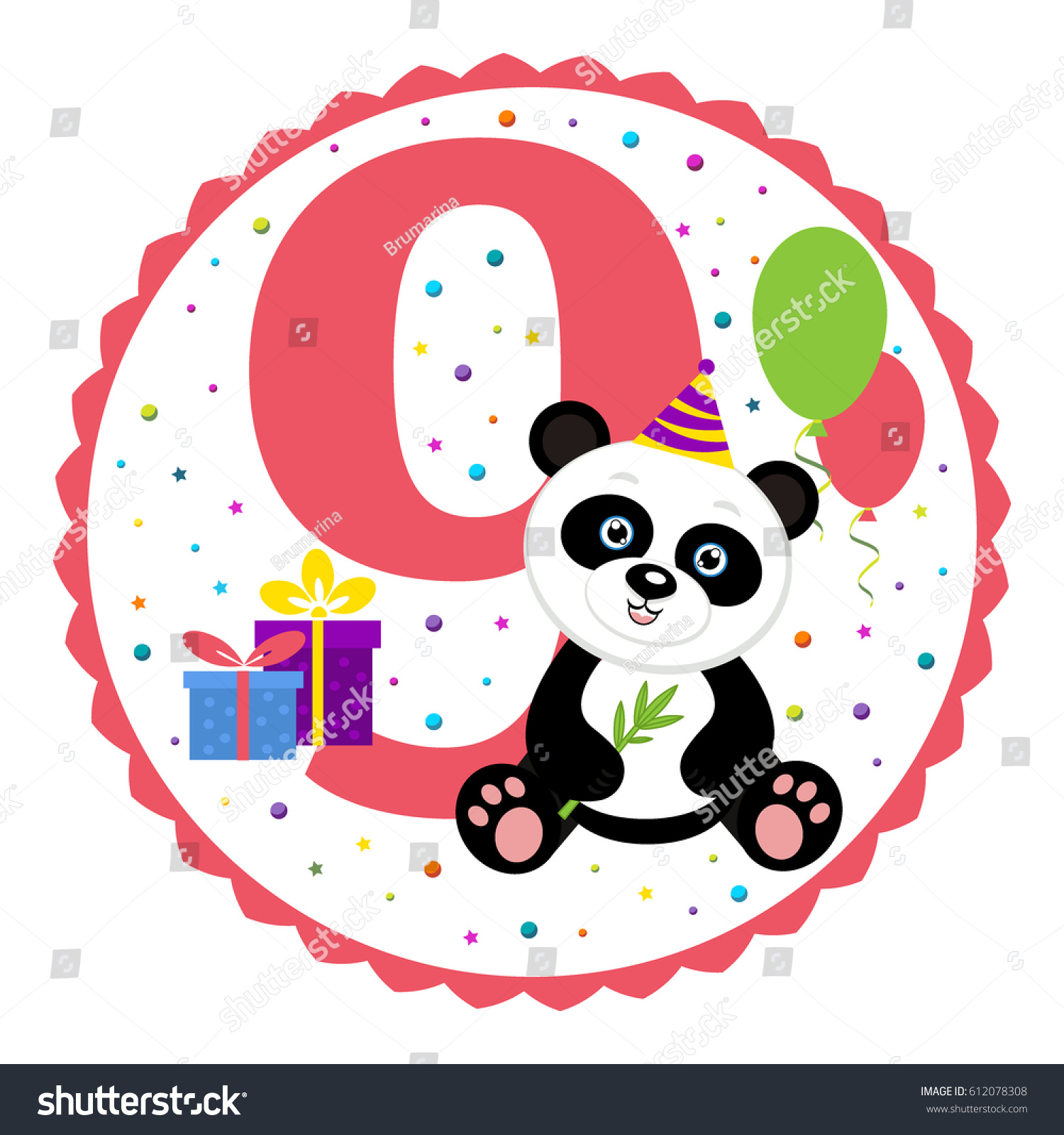 Birthday party invitation card template birthday stock vector birthday party invitation card template birthday anniversary number nine with cute panda vector stopboris Image collections