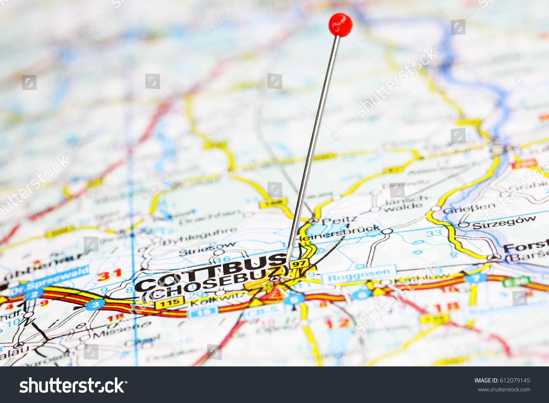 Detail Route Map Cottbus Stock Photo 612079145 Shutterstock
