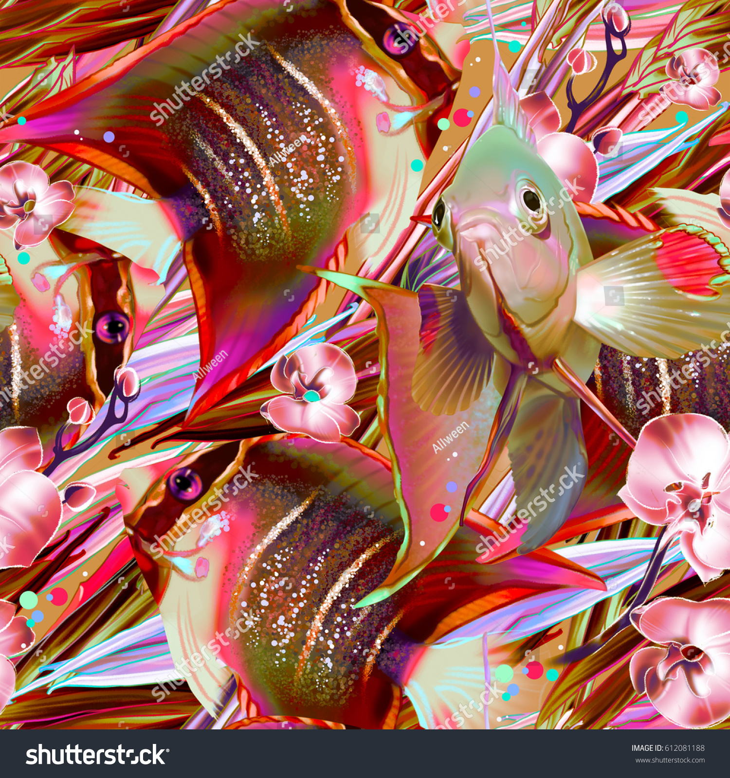 Seamless Tropical Pattern Fish Orchid Strelitzia Stock Illustration ...
