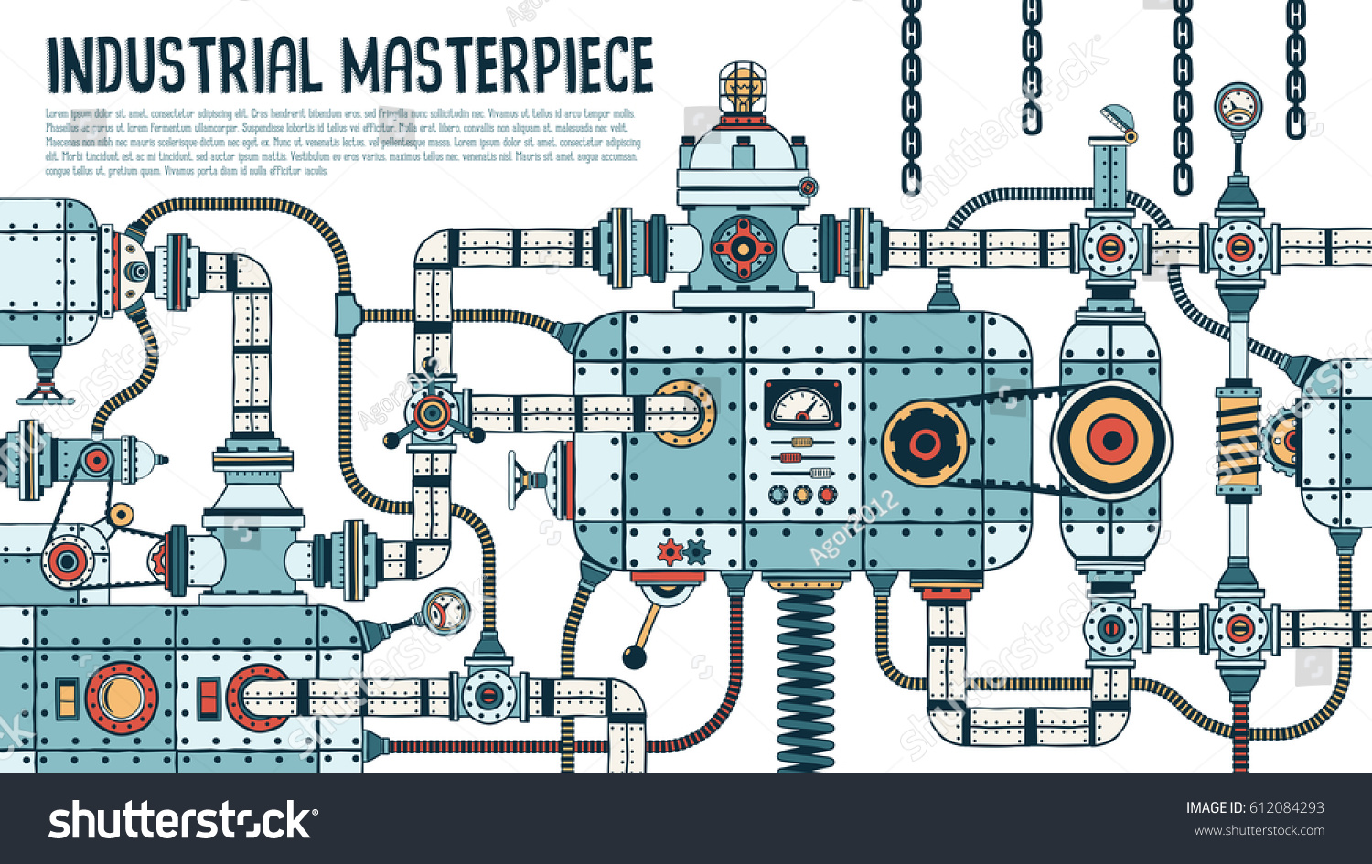 Incredible Complex Industrial Machine Pipes Valves Stock Vector ...