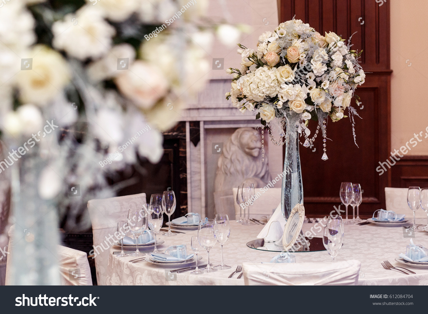 Luxury Decorated Tables At Rich Wedding Reception. Stylish Arrangements Of  Flowers And Jewels On Table