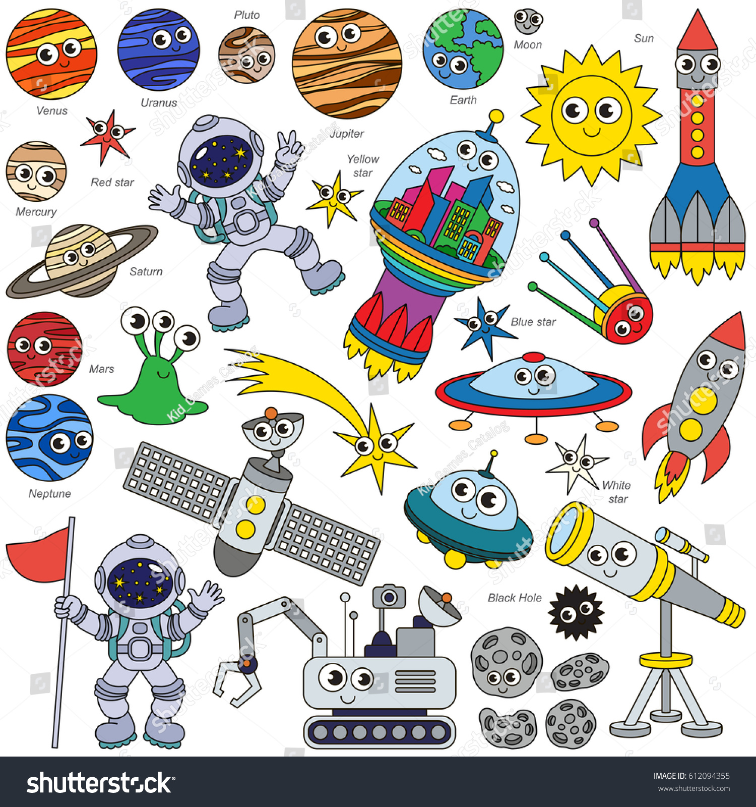 colorful space kid elements set collection of coloring book template the group of outline - Digital Coloring Book