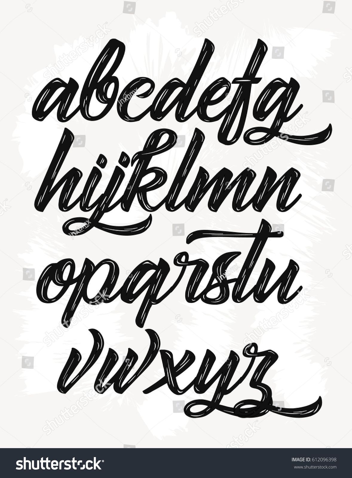 Calligraphic alphabet vector letters hand drawn stock