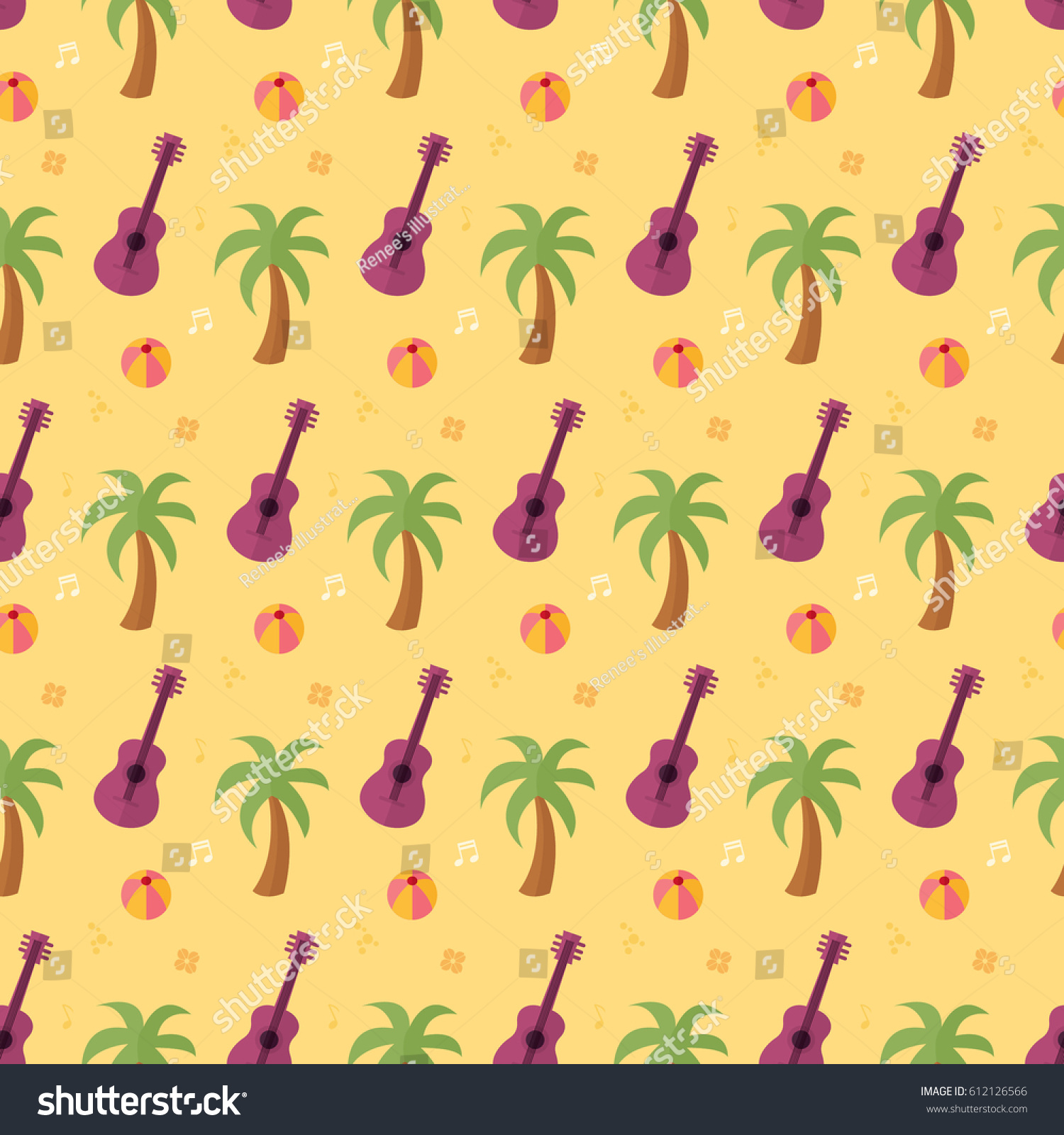 Great Wallpaper Music Tree - stock-vector-seamless-pattern-palm-tree-beach-ball-guitar-music-summer-on-yellow-background-vector-wallpaper-612126566  Image_282930.jpg