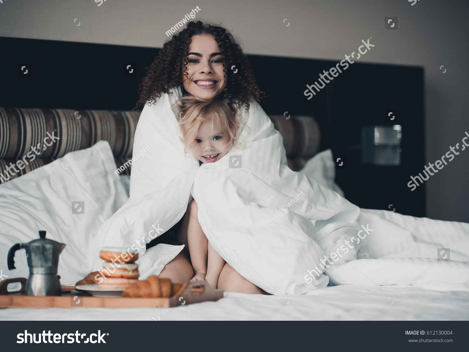 Baby bed for 2 year old - Smiling Mother Playing With Her Baby Girl 1 2 Year Old In Bed With Duvet