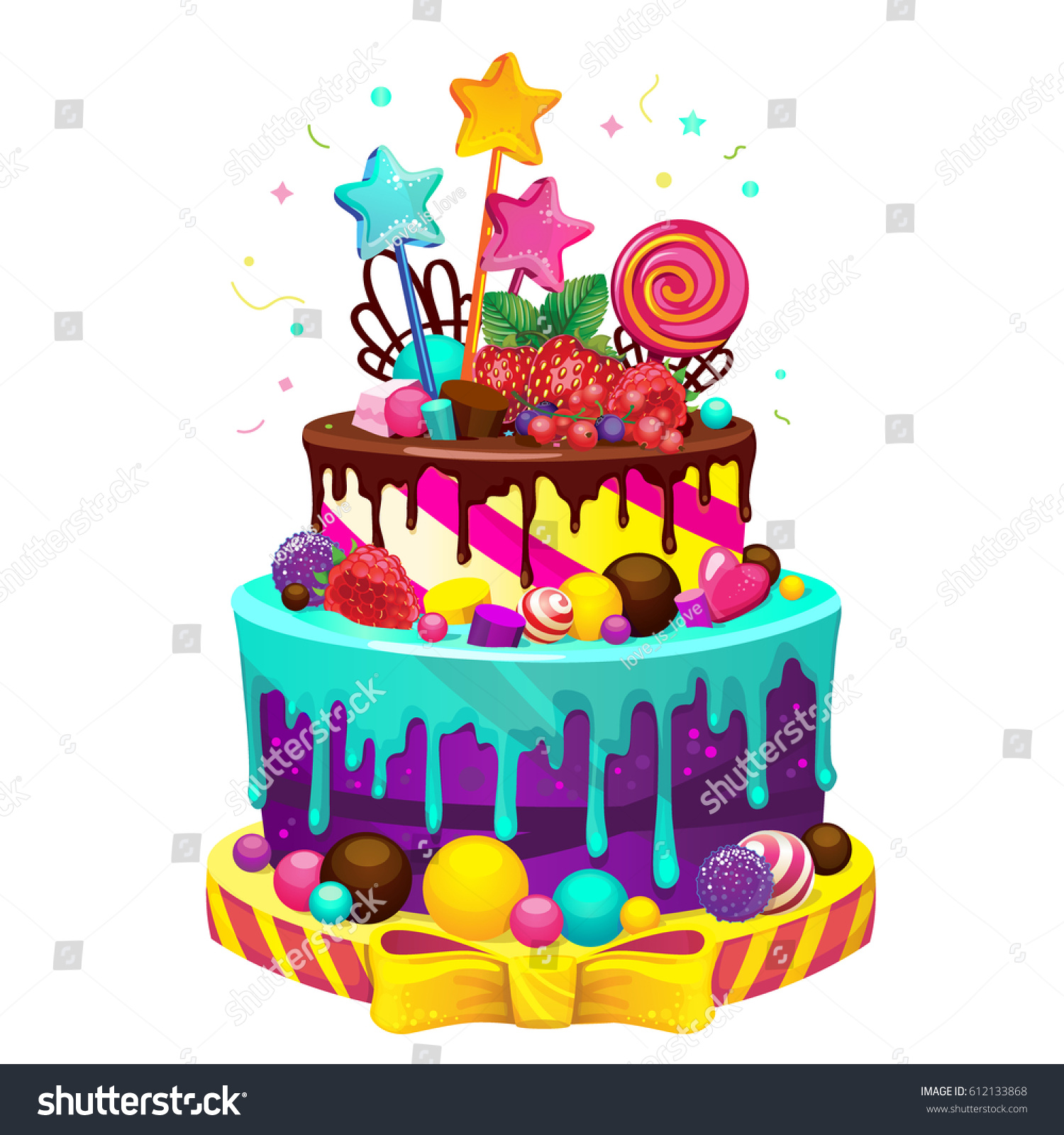 Pleasing Happy Birthday Cake Bright Vector Isolated Stock Vector Royalty Funny Birthday Cards Online Elaedamsfinfo