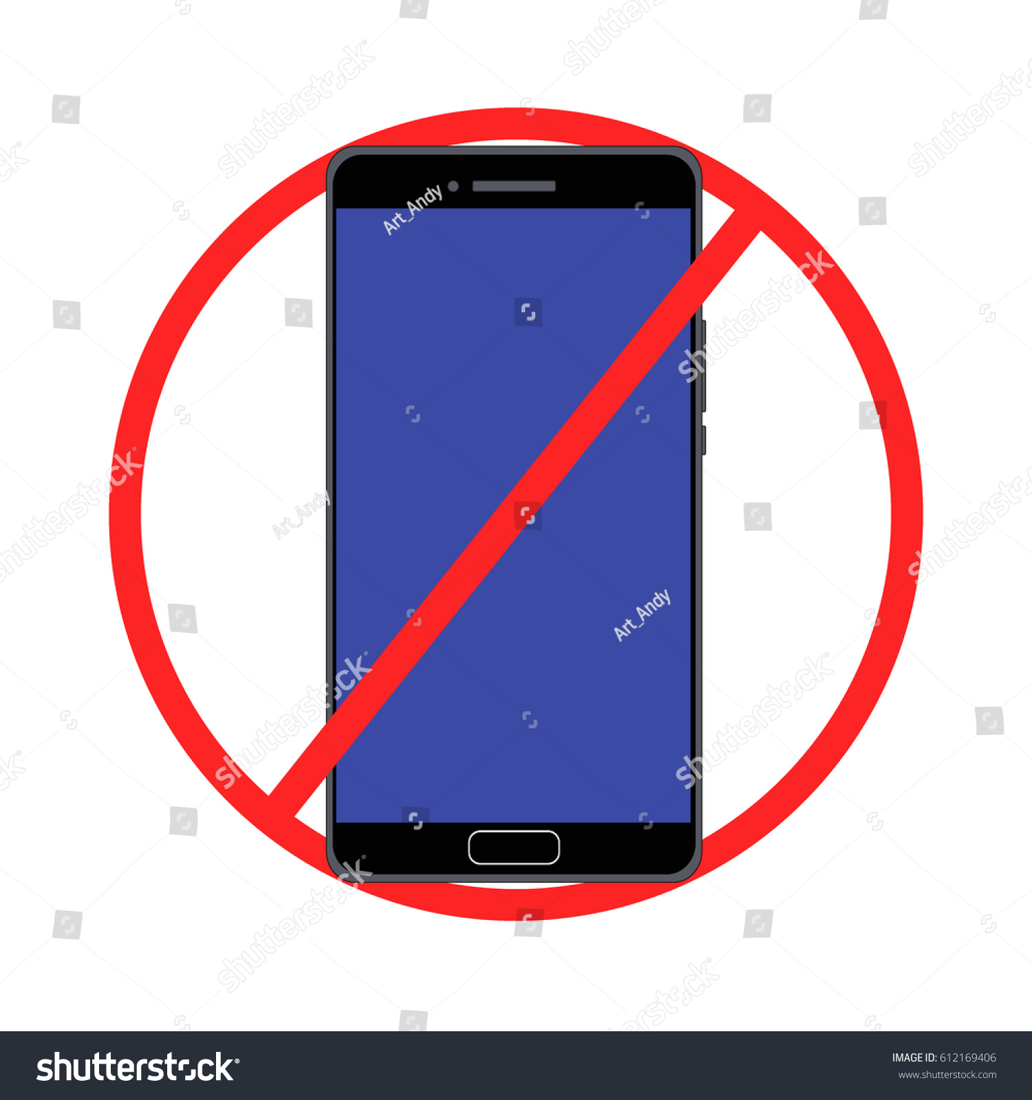 Red Forbidding Symbol Cell Phone Stock Vector Royalty Free