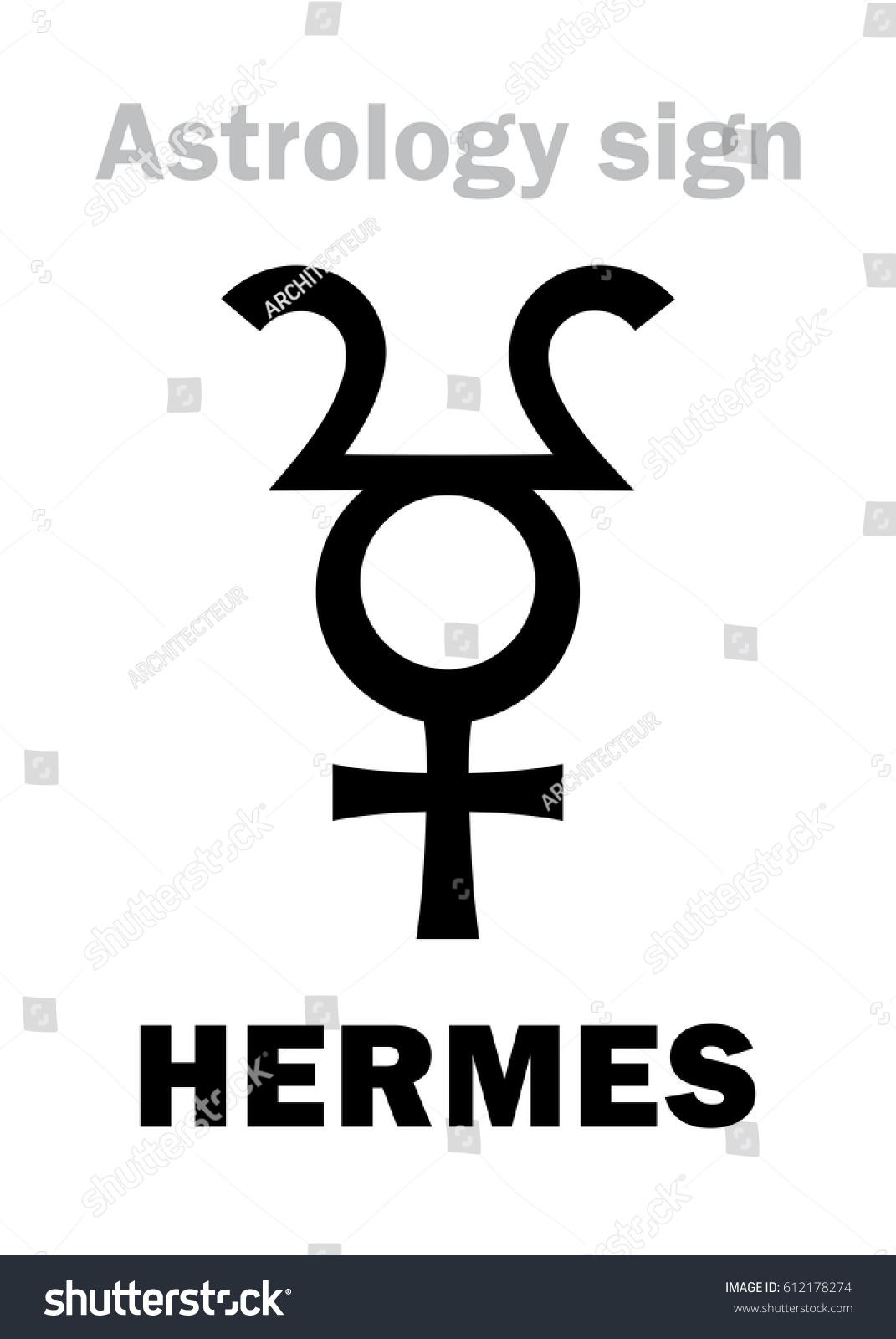 Astrology Alphabet Hermes Hypothetic Planet Hieroglyphics Stock