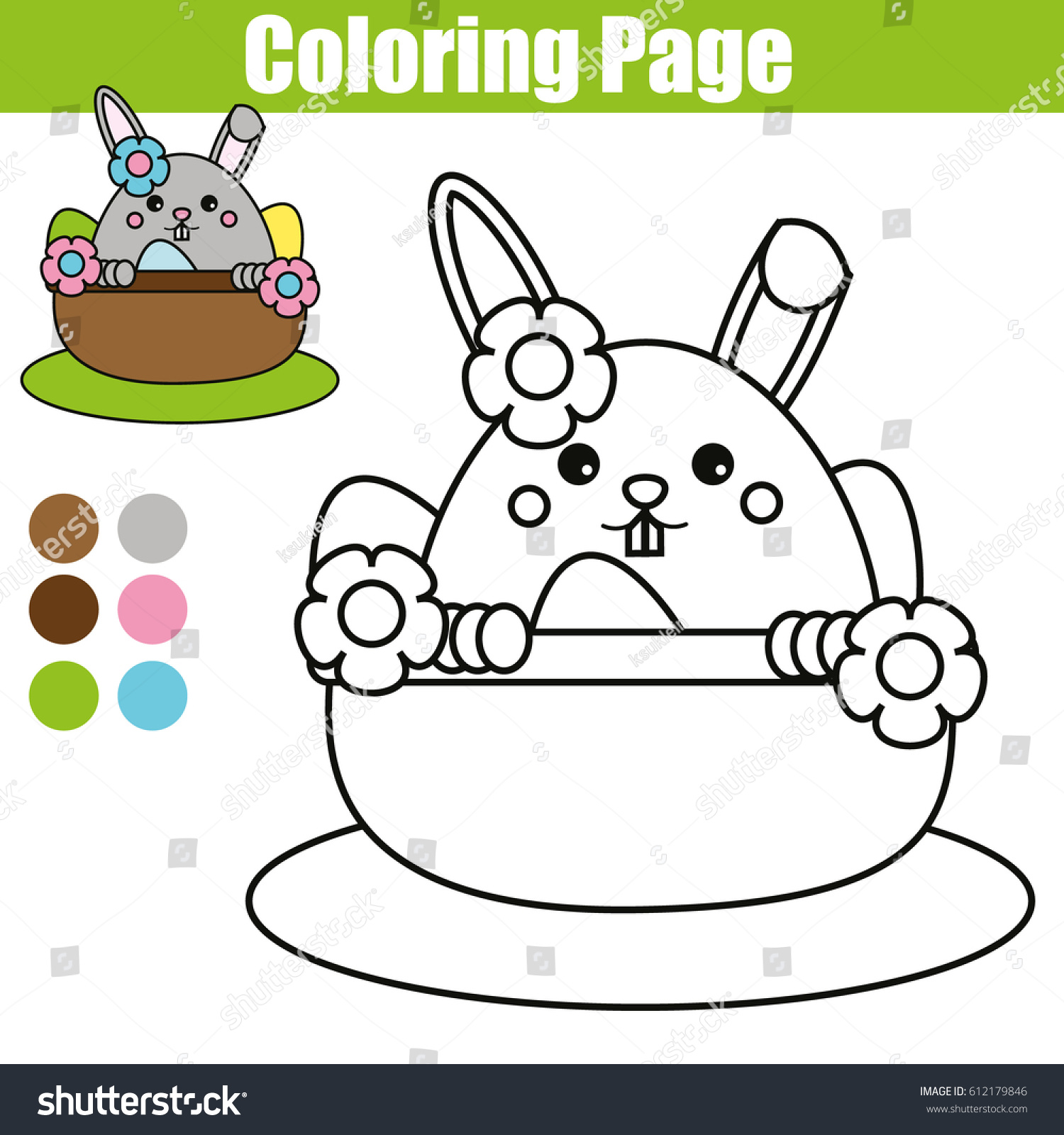 Coloring Page Easter Bunny Character Printable Stock Illustration ...