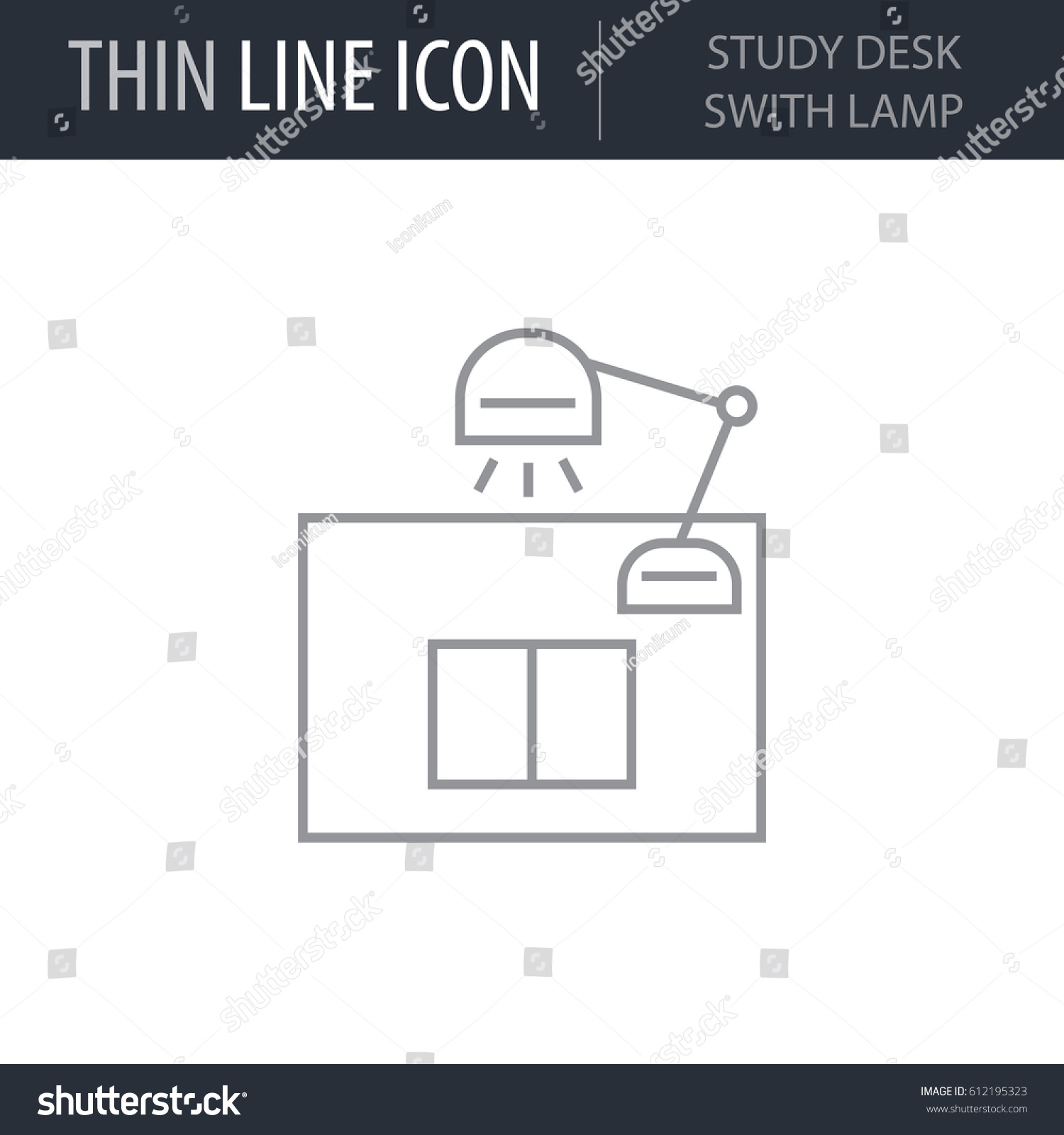 Symbol study desk swith lamp thin stock vector 612195323 symbol of study desk swith lamp thin line icon of college stroke pictogram graphic biocorpaavc Images