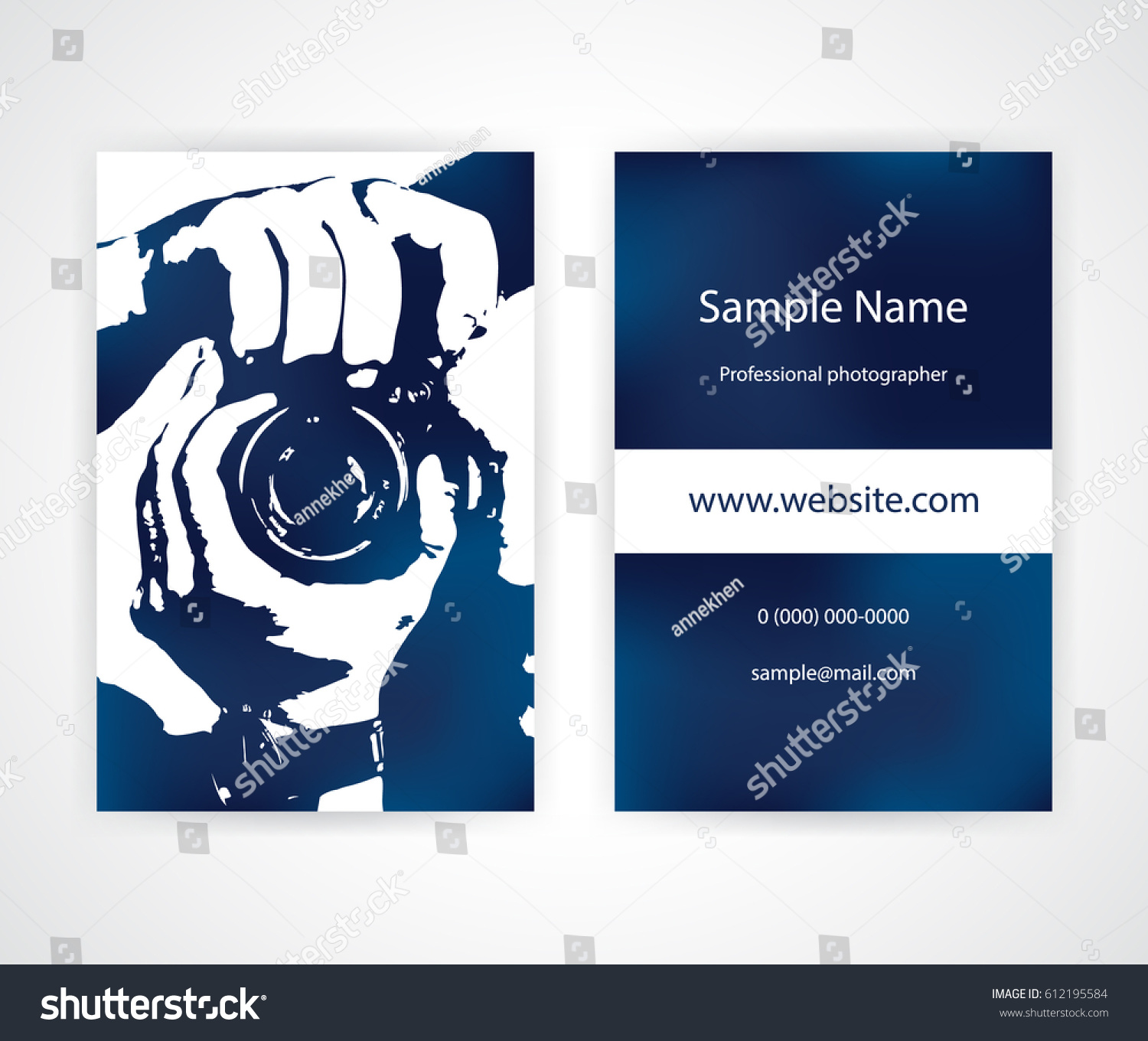 Creative Business Card Photographer On Dark Stock Vector 612195584 ...