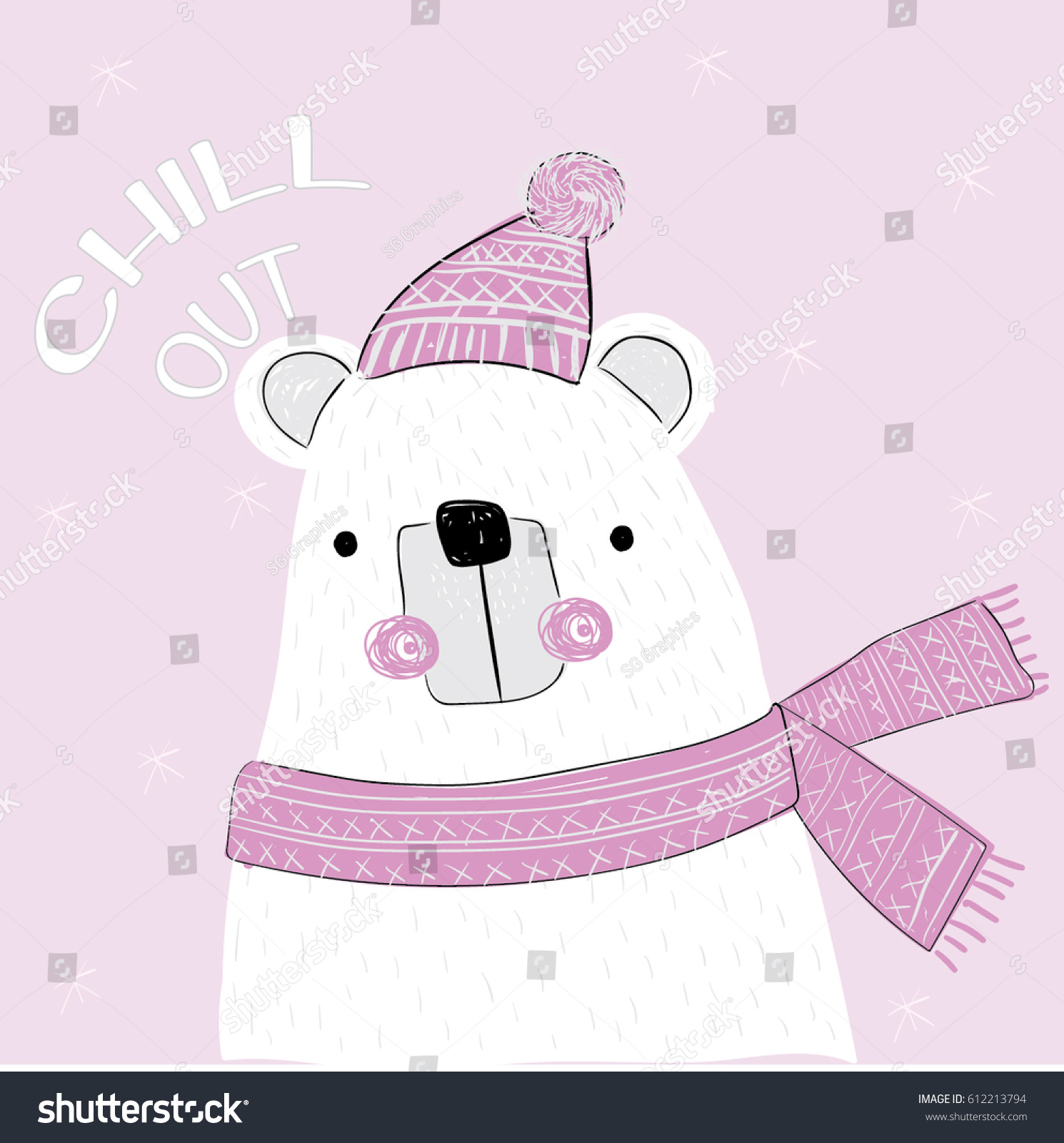 bear illustration vector print stock vector 612213794 shutterstock