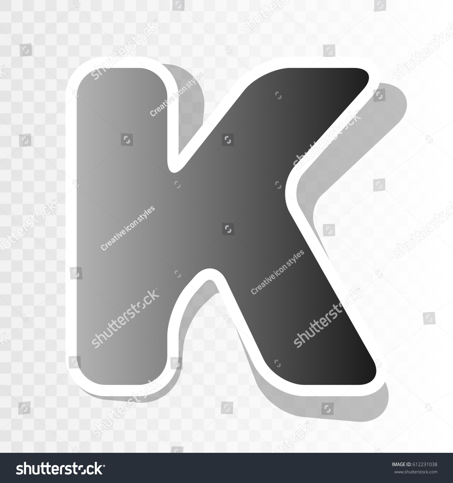 letter k sign design template element vector new year blackish icon on transparent background