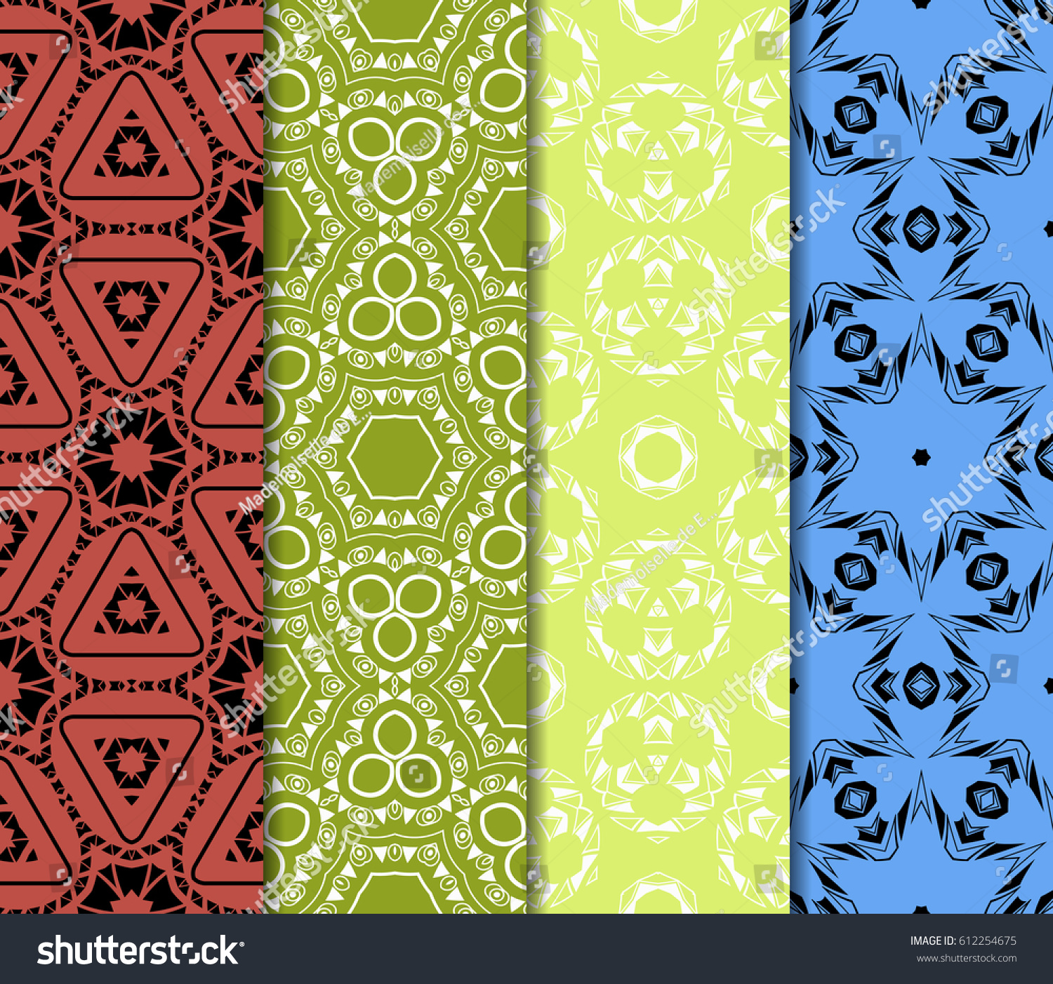 set of decorative ethnic ornament Seamless vector illustration Floral style For interior design fabric print page fill wallpaper textile