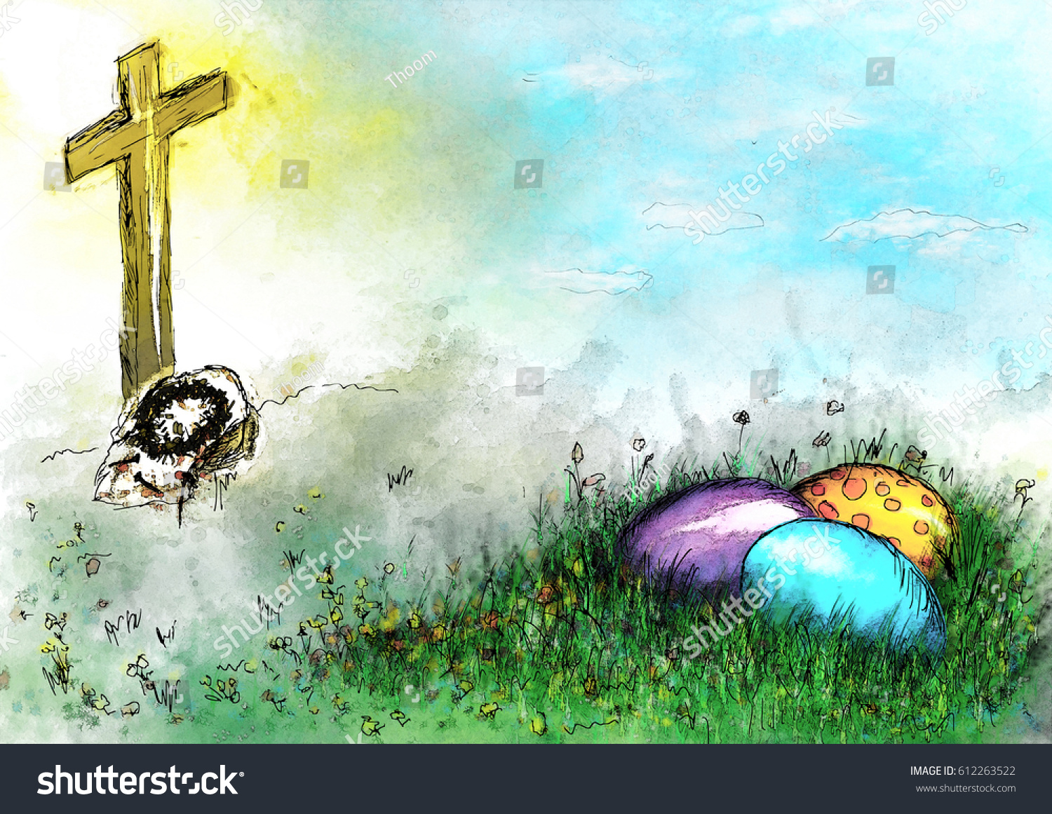 Easter Resurrection Religious Background With Painted Colorful Eggs In The Grass And Empty