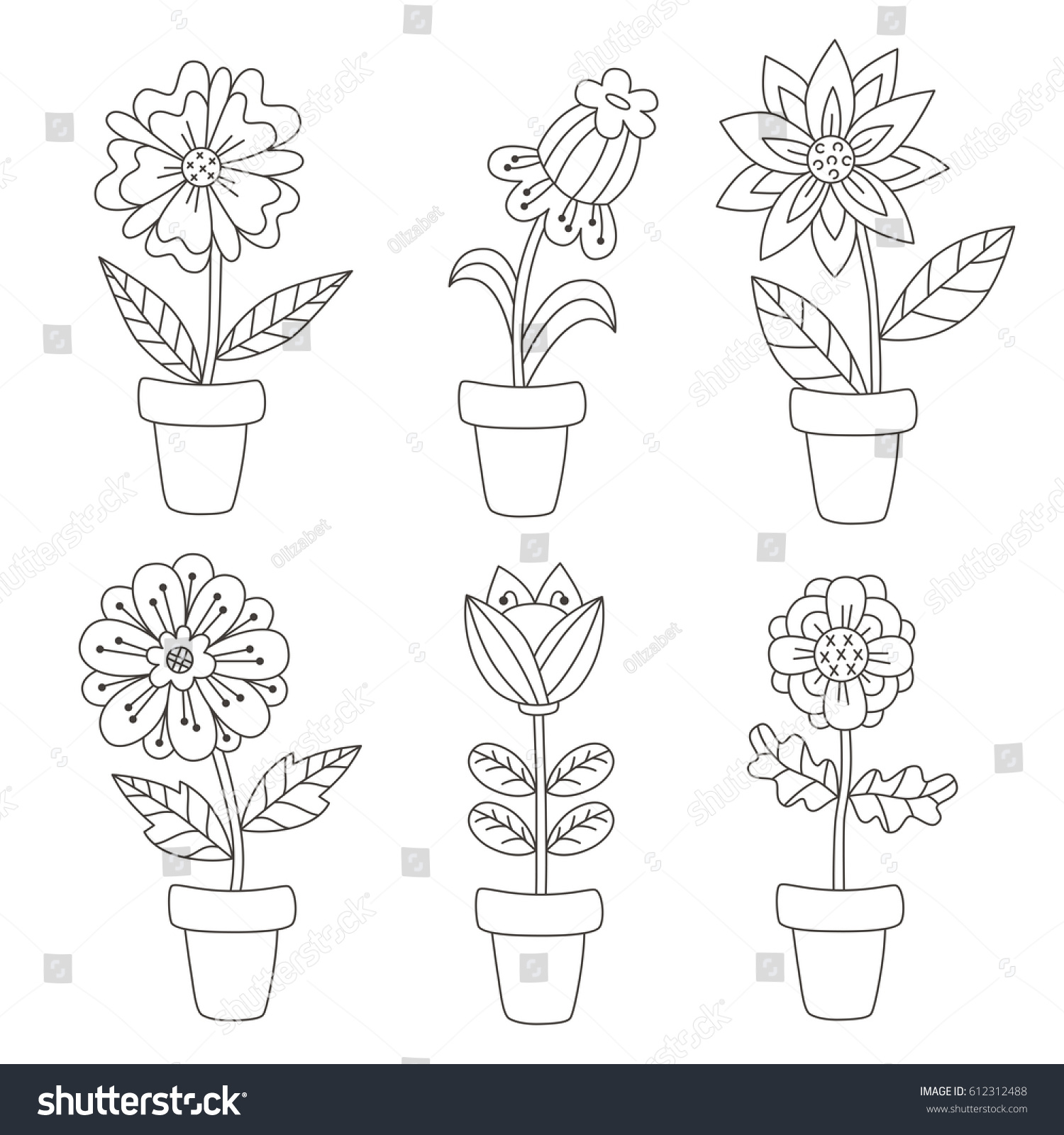 Black White Cute Flower Pots Floral Stock Vector Royalty Free