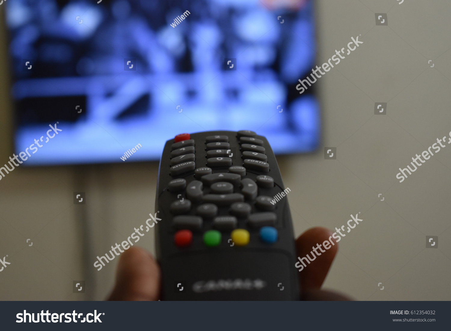 Selecting Tv Channel Watch Using Tv Stock Photo (Edit Now) 612354032