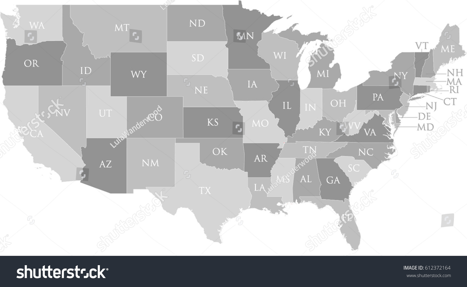 Us Map State Name Postal Abbreviation Stock Vector 612372164